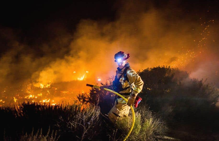 Un pompier tente d'éteindre le «Thomas Fire», à Ventura. Ce brasier, le plus dévastateur, a détruit près de 39 000 hectares et n'était contenu qu'à 5%, selon le dernier bilan.