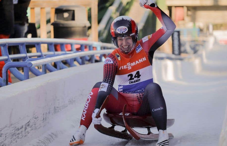 La lugeuse canadienne Alex Gough pendant la Coupe du monde de luge, le 9 décembre dernier à Calgary
