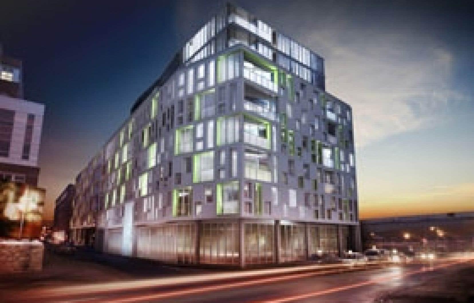 Le design du M9 Évolution, dans la Cité du multimédia, est hyper contemporain avec toutes ses fenêtres de grandeurs différentes qui donnent un aspect très dynamique à l'édifice.