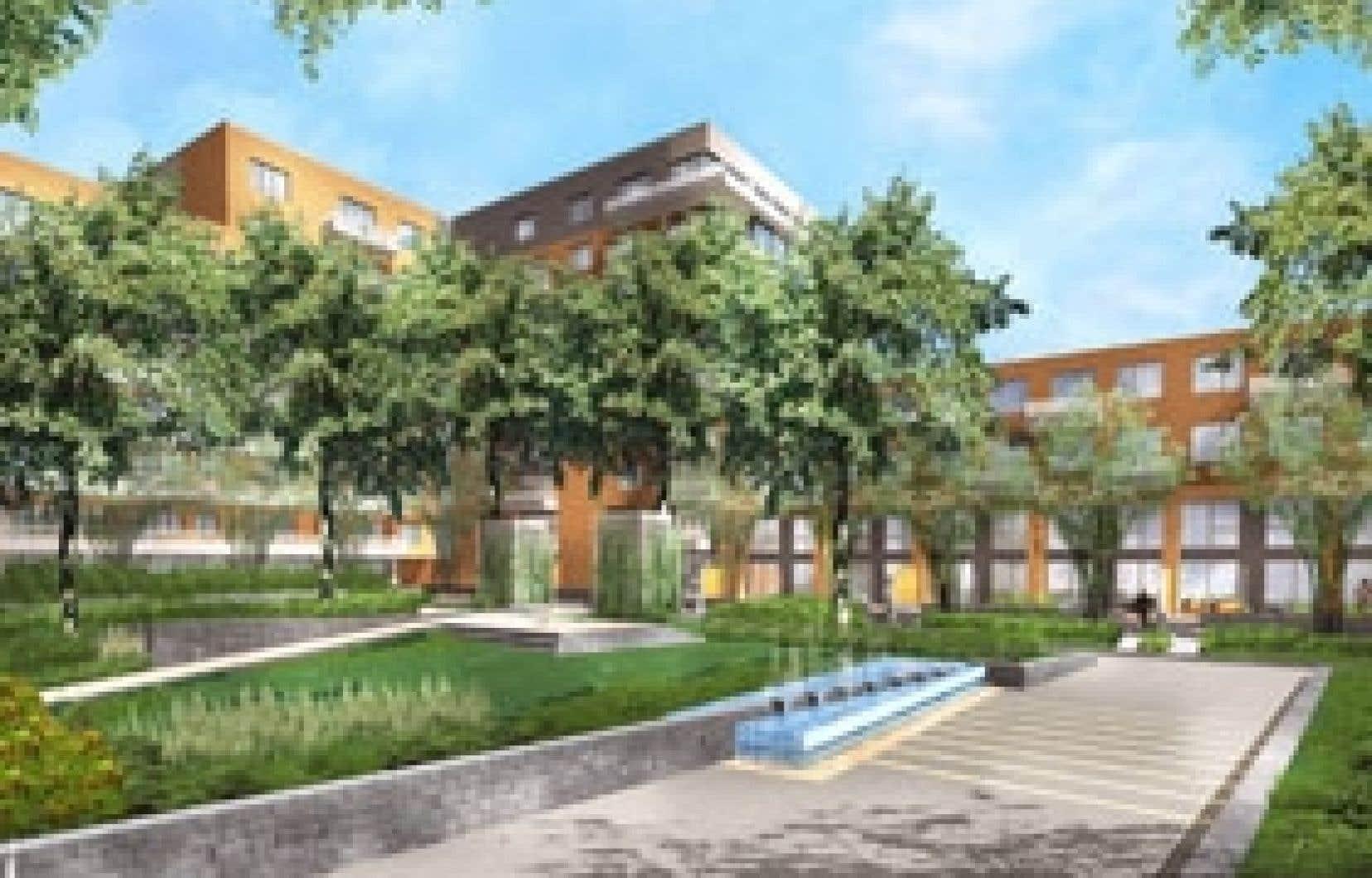 La cour intérieure du projet Solano recèlera un jardin paysager réservé à ses résidants.