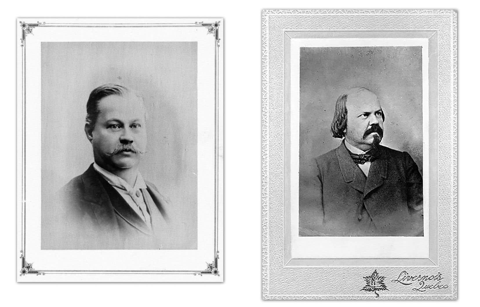 Portraits de Louis Fréchette (à gauche) et d'Octave Crémazie