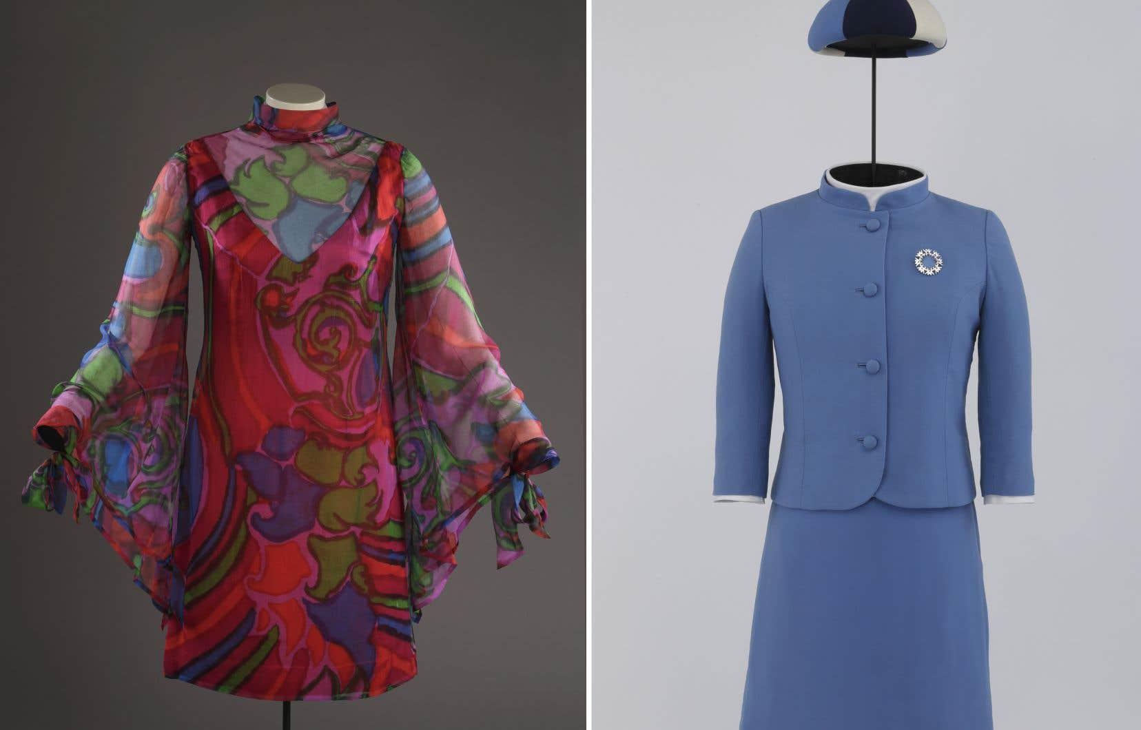 En moyenne, le musée acquiert en temps normal autour de 10 000 objets par an, principalement par dons. À gauche, une robe cocktail qui a appartenu à Marie-Claire Boucher Drapeau et à droite, l'uniforme iconique porté par les hôtesses d'Expo 67.