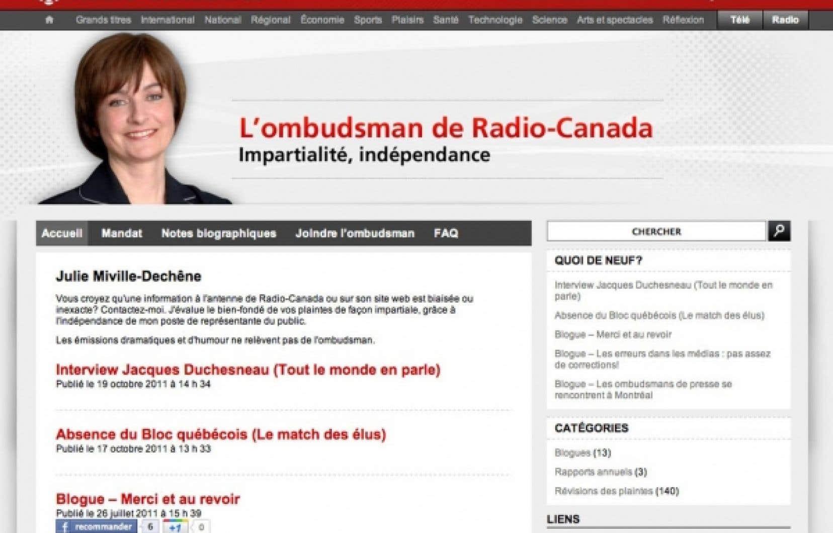La dernière ombudsman du service français, l'ex-journaliste Julie Miville-Dechêne, a quitté le poste cet été, après un quinquennat. Elle dirige maintenant le Conseil du statut de la femme.<br />