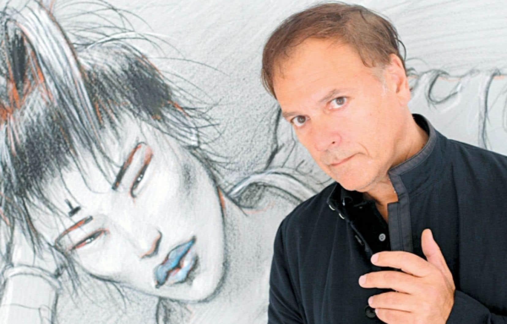 Enki Bilal photographié à Paris en 2009 lors d'une exposition de ses dessins. <br />