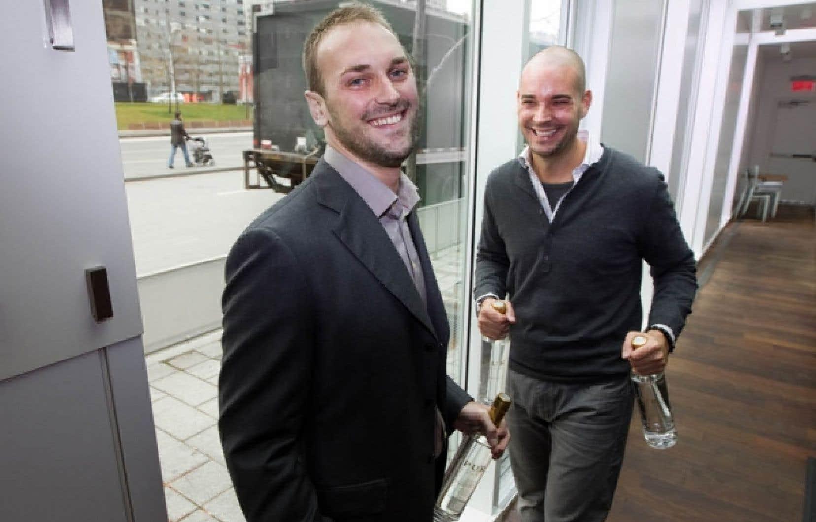 Les deux entrepreneurs derri&egrave;re PUR vodka, Christopher Lecky et Nicolas Duvernois.<br />