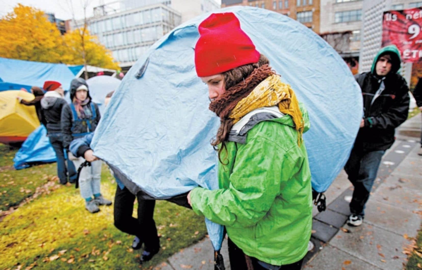 Le camp des indignés des Jardins Saint-Roch à Québec le mois dernier.