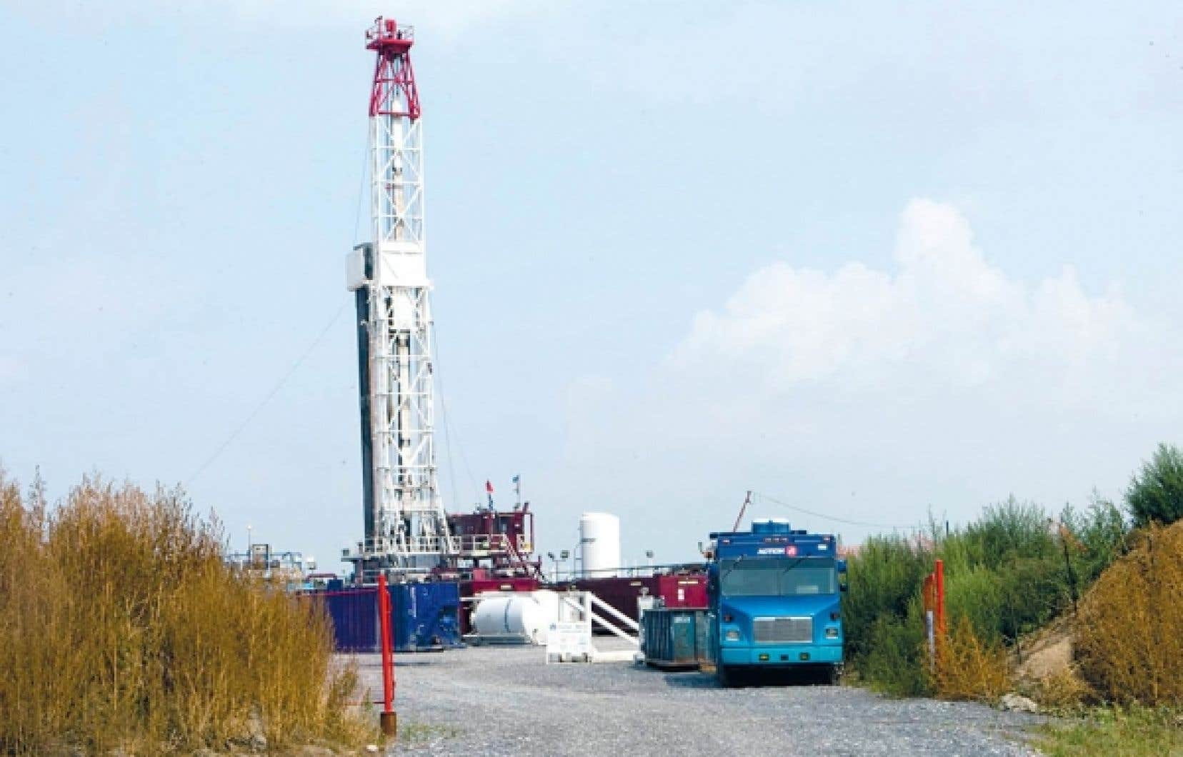 Un puits d'exploration gazière à Saint-Thomas-d'Aquin, près de Saint-Hyacinthe, en Montérégie.<br />