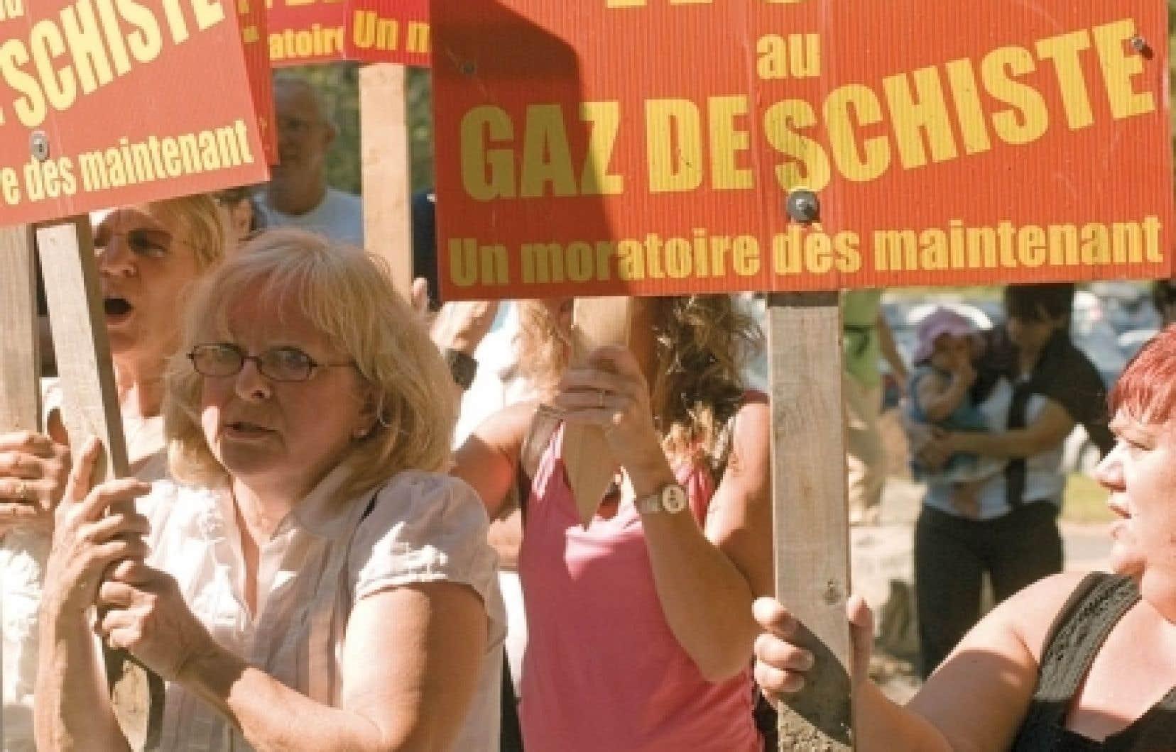 Manifestation plus tôt cette année de citoyens opposé à l'exploitation des gaz de schiste.