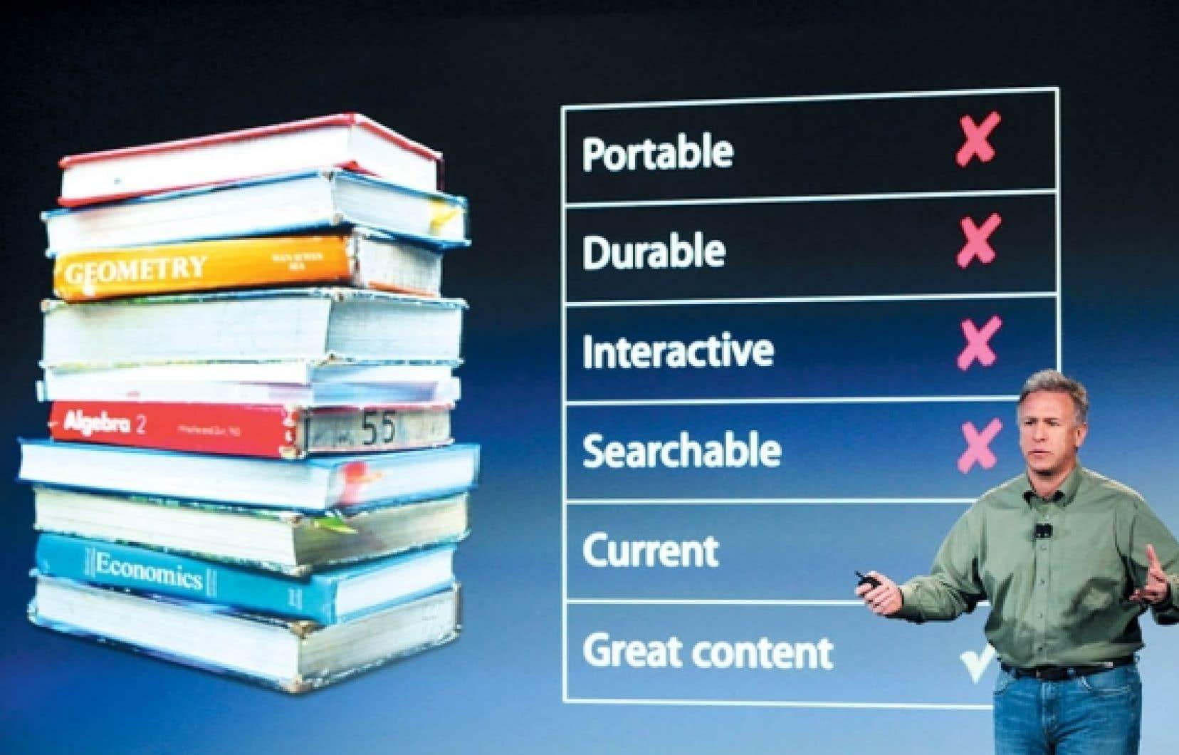 Présentée à New York hier par le chef marketing d'Apple, Phil Schiller, l'application iBook Author s'inscrit dans une nouvelle stratégie de développement de l'entreprise qui cherche à placer ses pions et ses tablettes numériques iPad dans le monde de l'éducation.