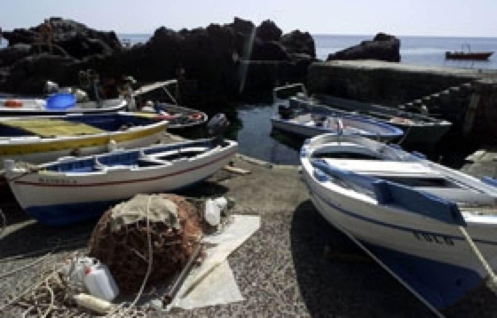 Des bateaux de pêcheurs à Ginostra, le plus petit port au monde situé au nord de la Sicile.