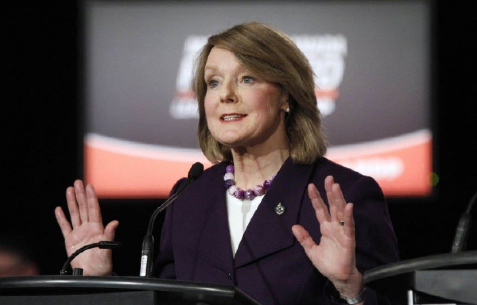 Peggy Nash estime avoir de bonnes chances de devenir la prochaine chef du NPD.<br />