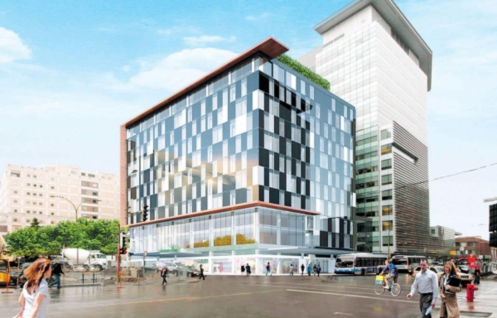 Le pavillon GM de l'Université Concordia, à la sortie de la station de métro Guy-Concordia<br />