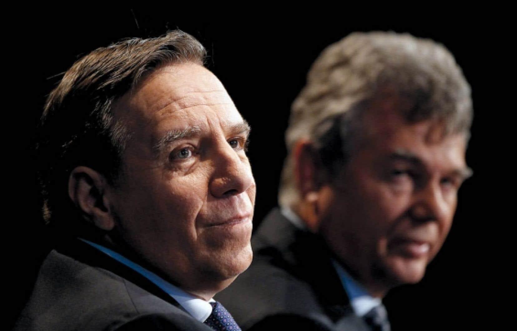Les cofondateurs de la Coalition avenir Québec, François Legault et Charles Sirois. Ce dernier est un de ceux qui ont contribué deux fois 1000 $ à la CAQ en 2011, d'abord alors que c'était un organisme sans but lucratif, puis un parti politique.<br />