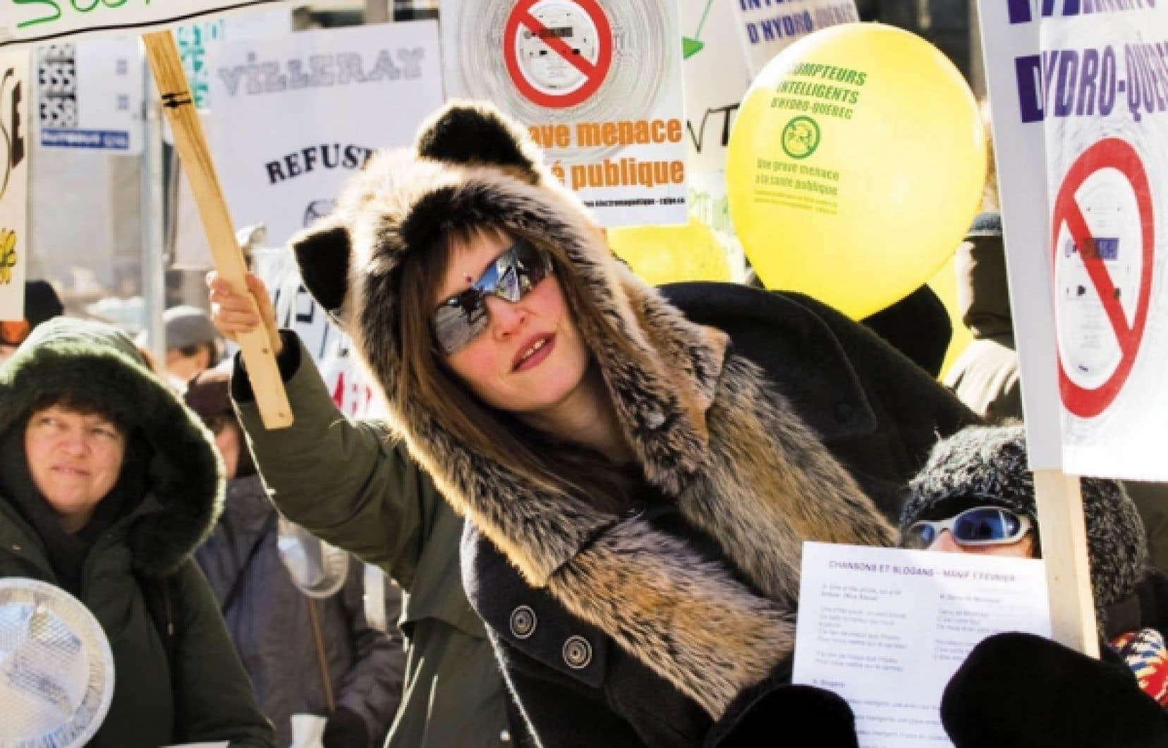 Les manifestants demandent un moratoire sur l&rsquo;installation des nouveaux compteurs.<br />