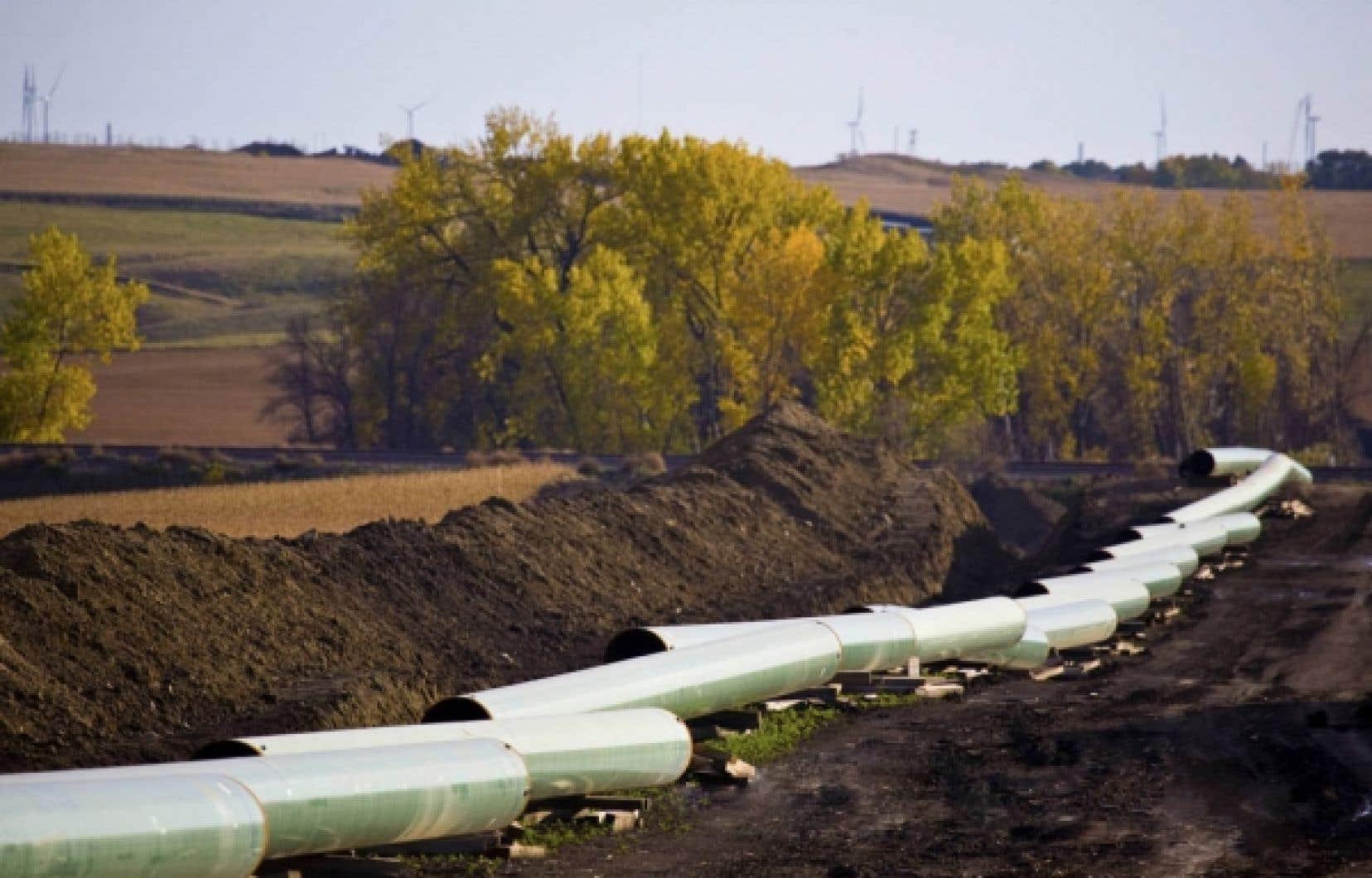 Un tronçon du Keystone XL en construction dans le Dakota du Nord.<br />
