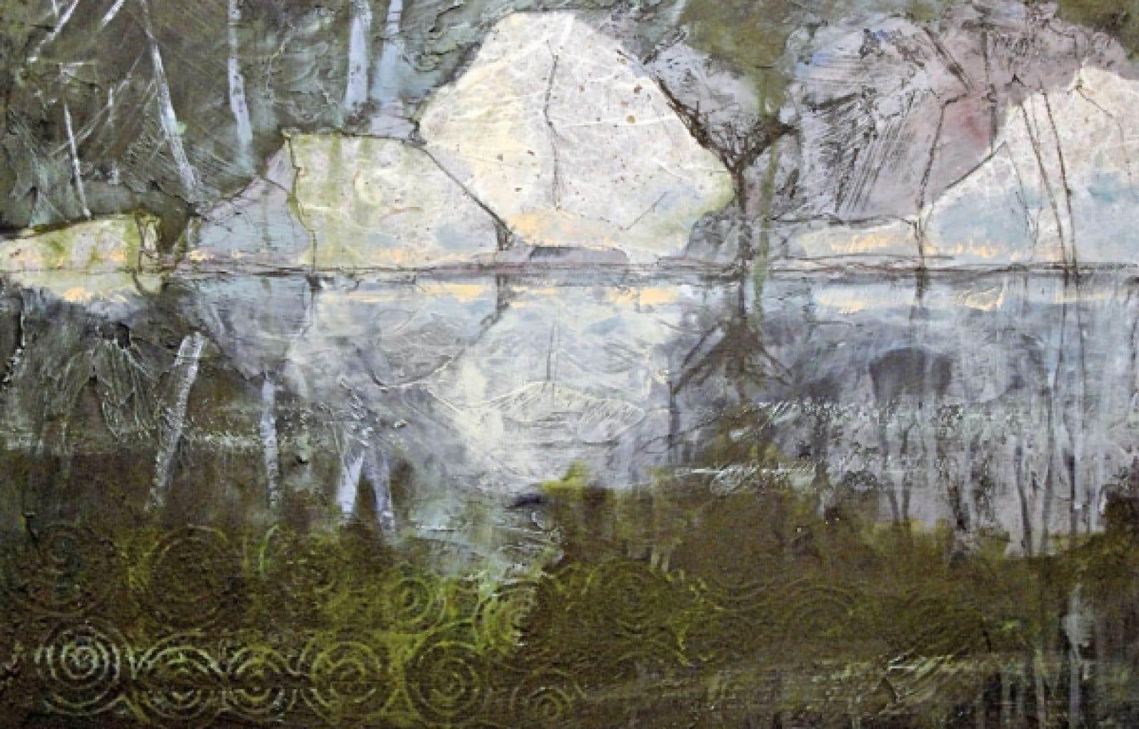 Rocks in Moonlight de Holly Friesen (18 sur 24 pouces, acrylique et techniques mixtes sur panneau, 2011)<br />