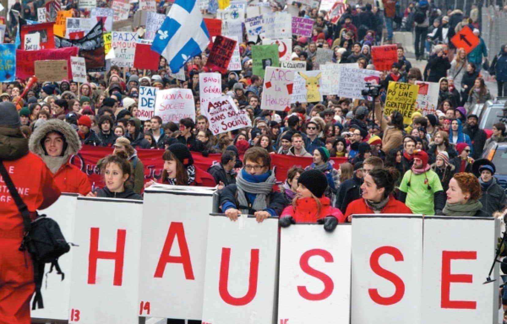 Manifestation étudiante contre la hausse des droits de scolarité le 24 février dernier. <br />