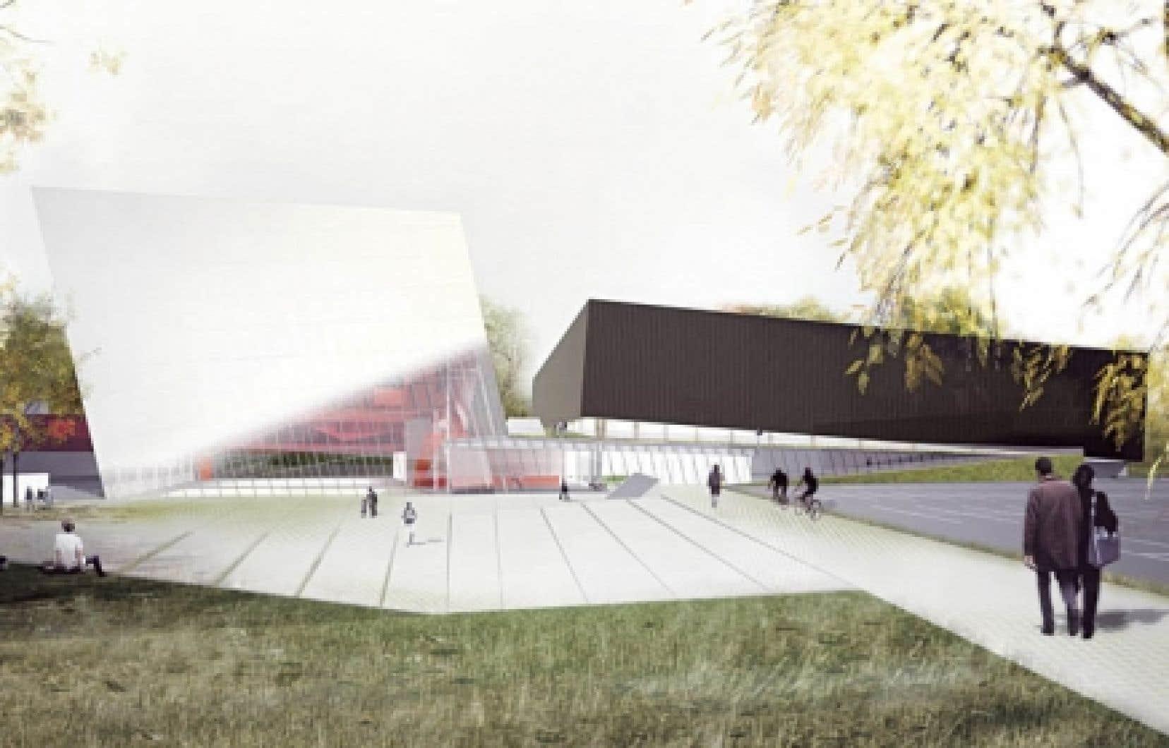 Concours pour le Complexe sportif de l'arrondissement de Saint-Laurent, Saucier + Perrotte architectes. Perspective du bâtiment vue depuis le boulevard Thimens. <br />