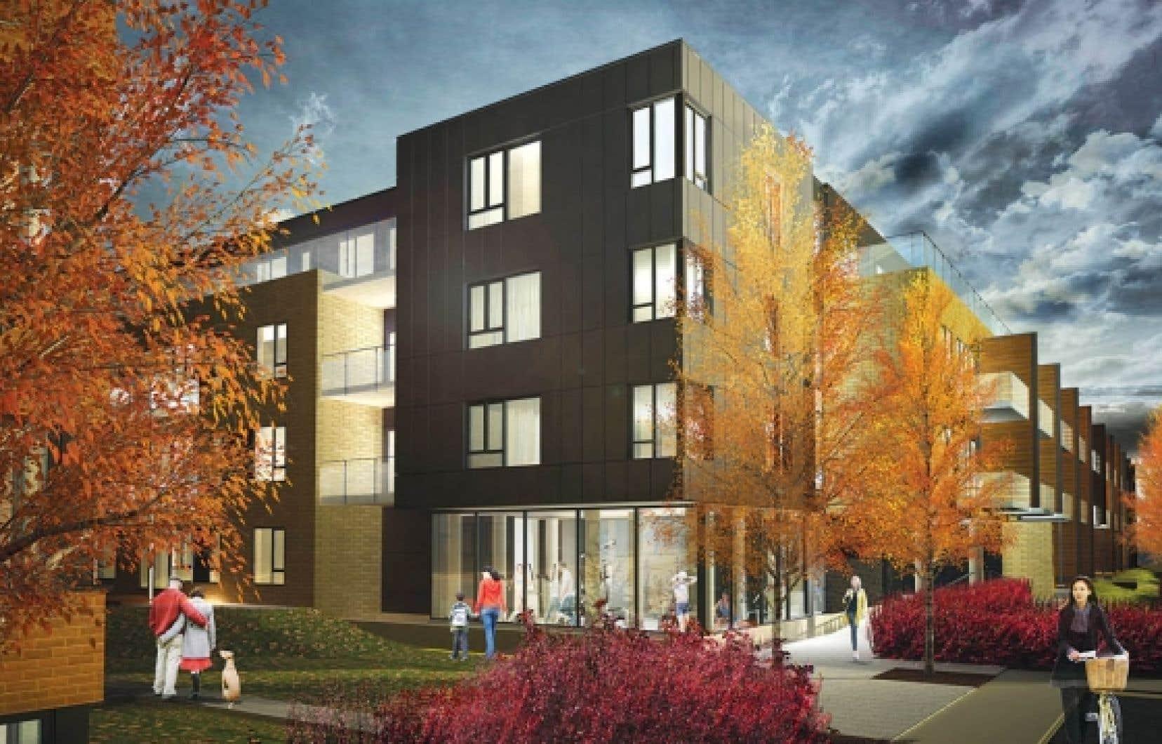 Les lofts au rez-de-chaussée et au quatrième étage auront une grande terrasse de bois. Les autres auront un balcon. <br />