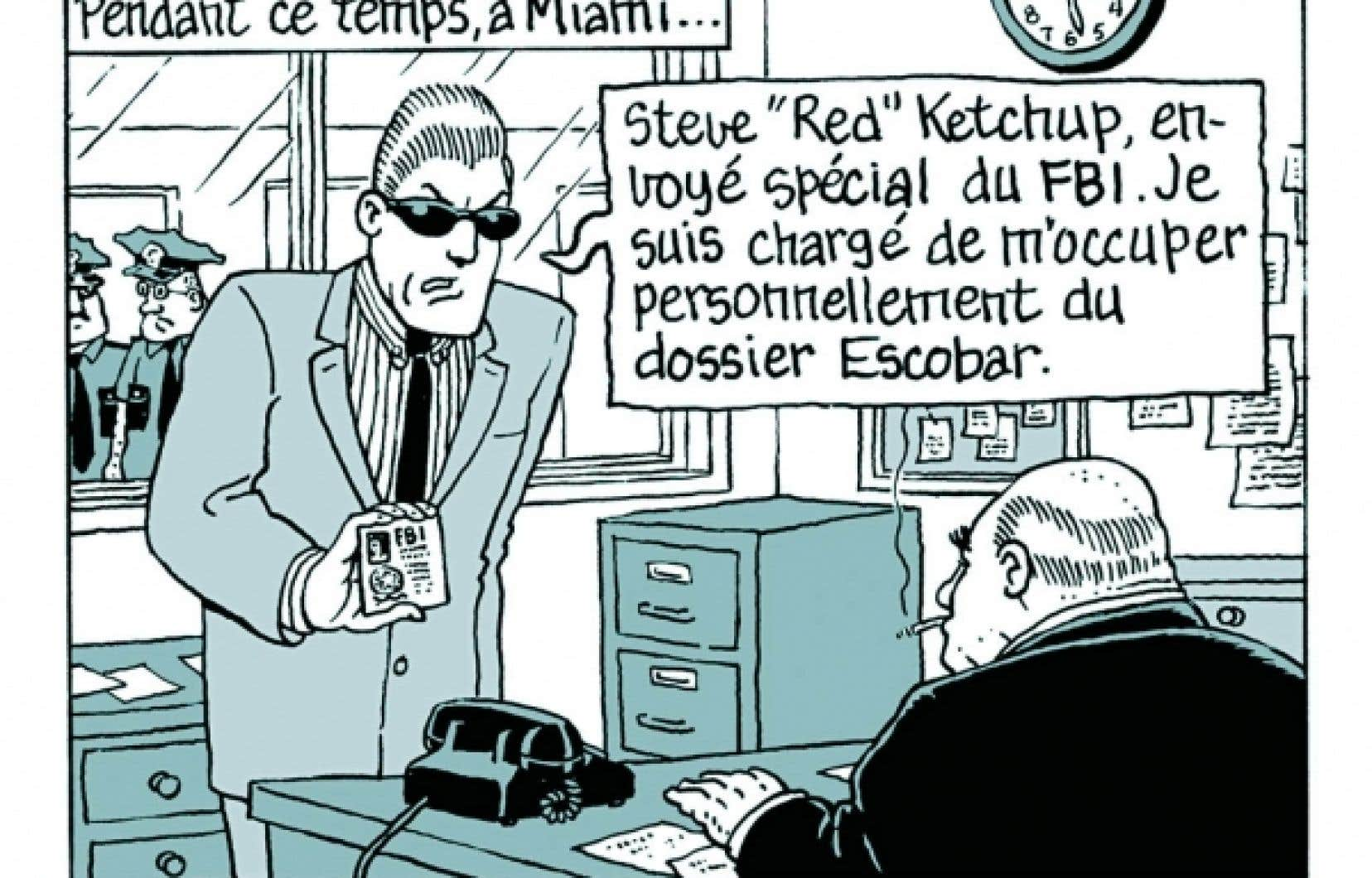 C&rsquo;est dans cette case, en avril 1982, dans le magazine Croc, que le personnage de Red Ketchup a fait sa premi&egrave;re apparition &agrave; l&rsquo;int&eacute;rieur des aventures de Michel Risque.<br />