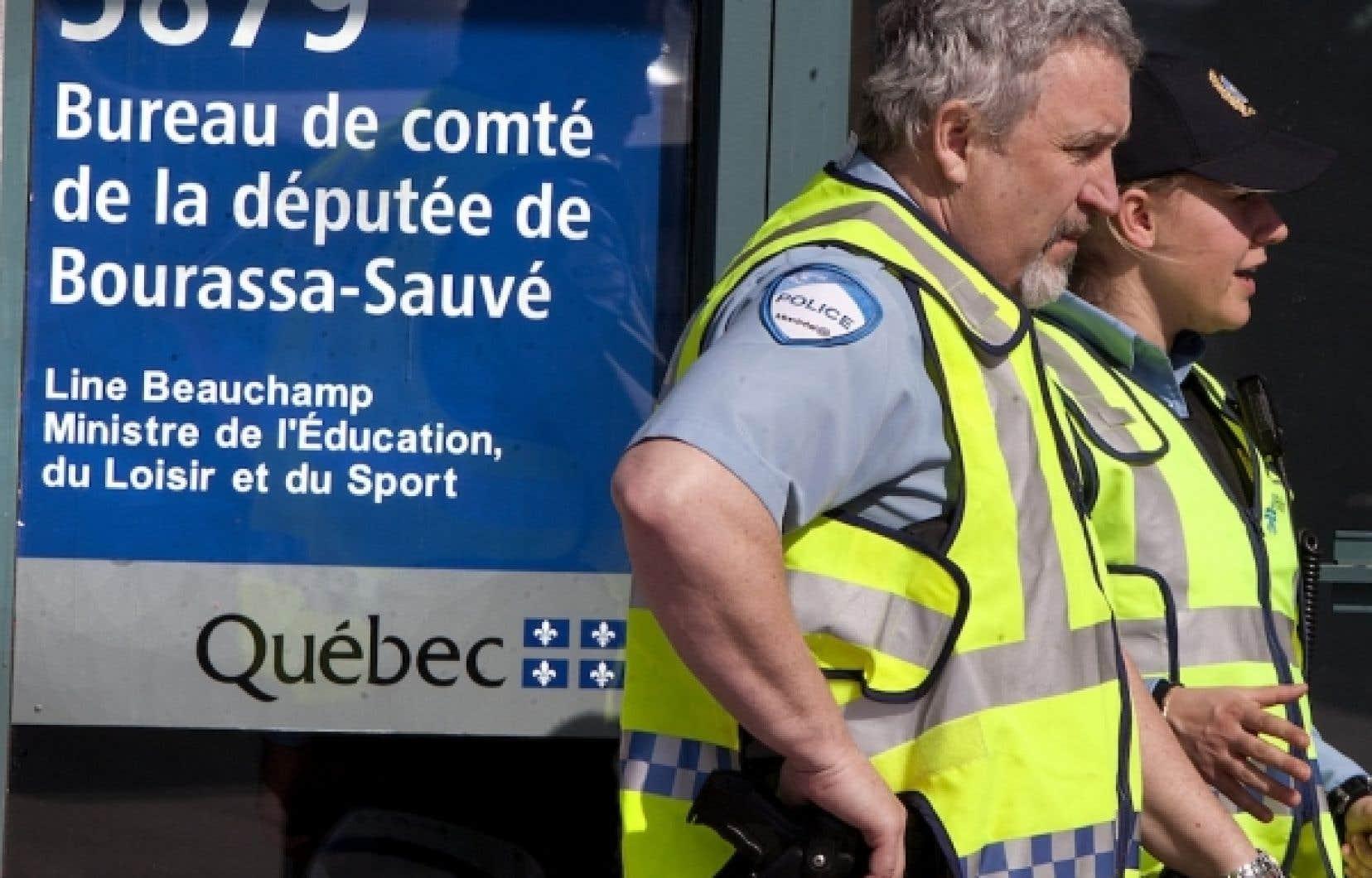 Le bureau de circonscription de la ministre de l'Éducation, Line Beauchamp, a été vandalisé.<br />