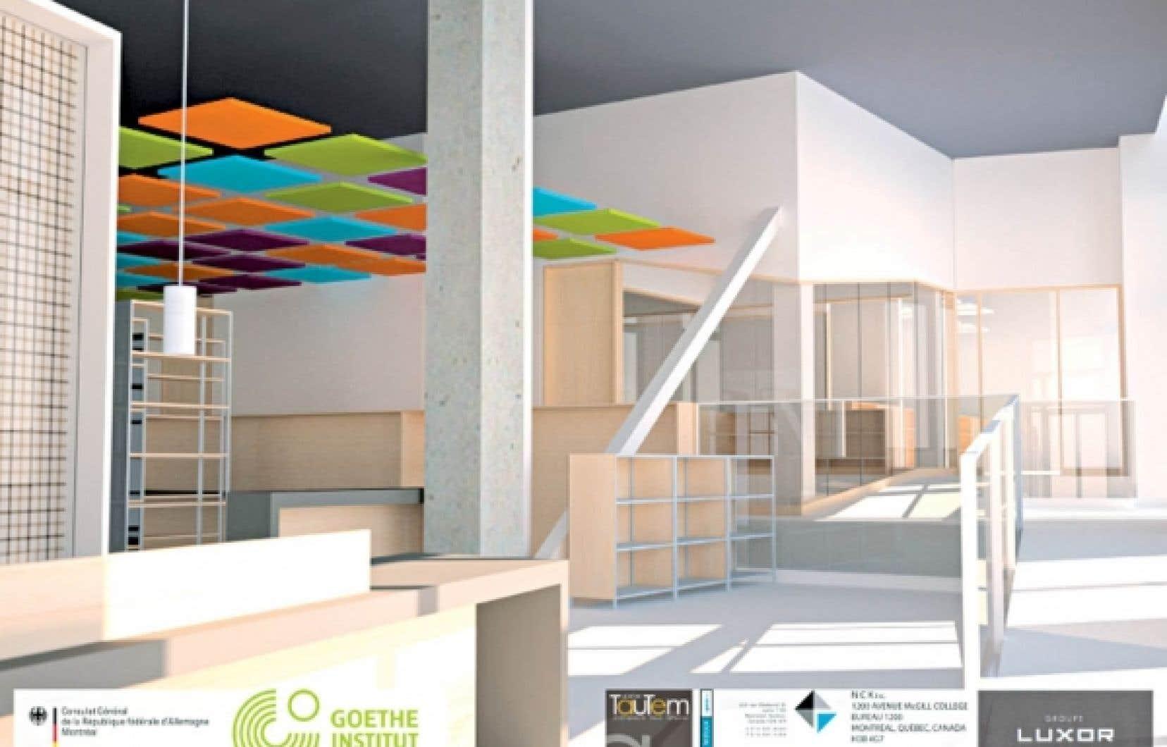 <div> Dans sa nouvelle demeure, l&rsquo;institution adoptera un style contemporain, conjuguant &laquo;le verre, le bois, le b&eacute;ton et le blanc, avec des accents de couleurs qui font la marque du Goethe&raquo;.</div>