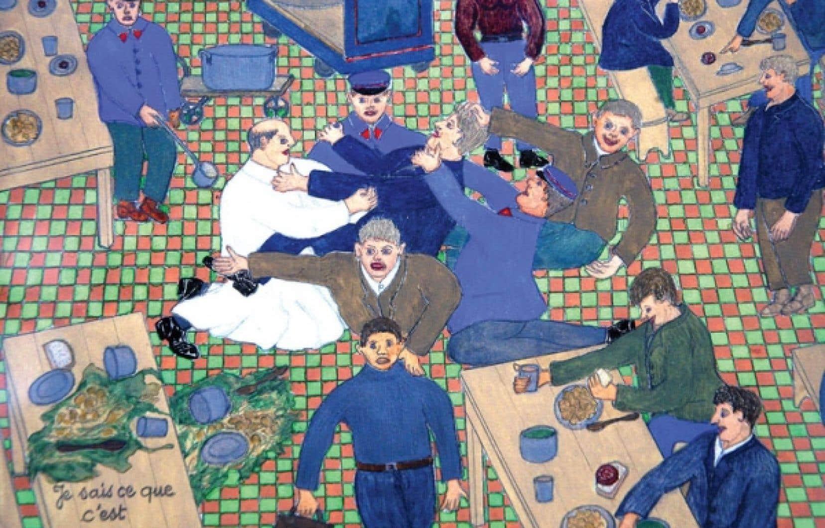 <div> Peinture ancienne réalisée par un patient et exposée au musée de l'hôpital Sainte-Anne, à Paris. Au Québec, l'art de la folie, ou l'art brut, est encore peu reconnu.</div>