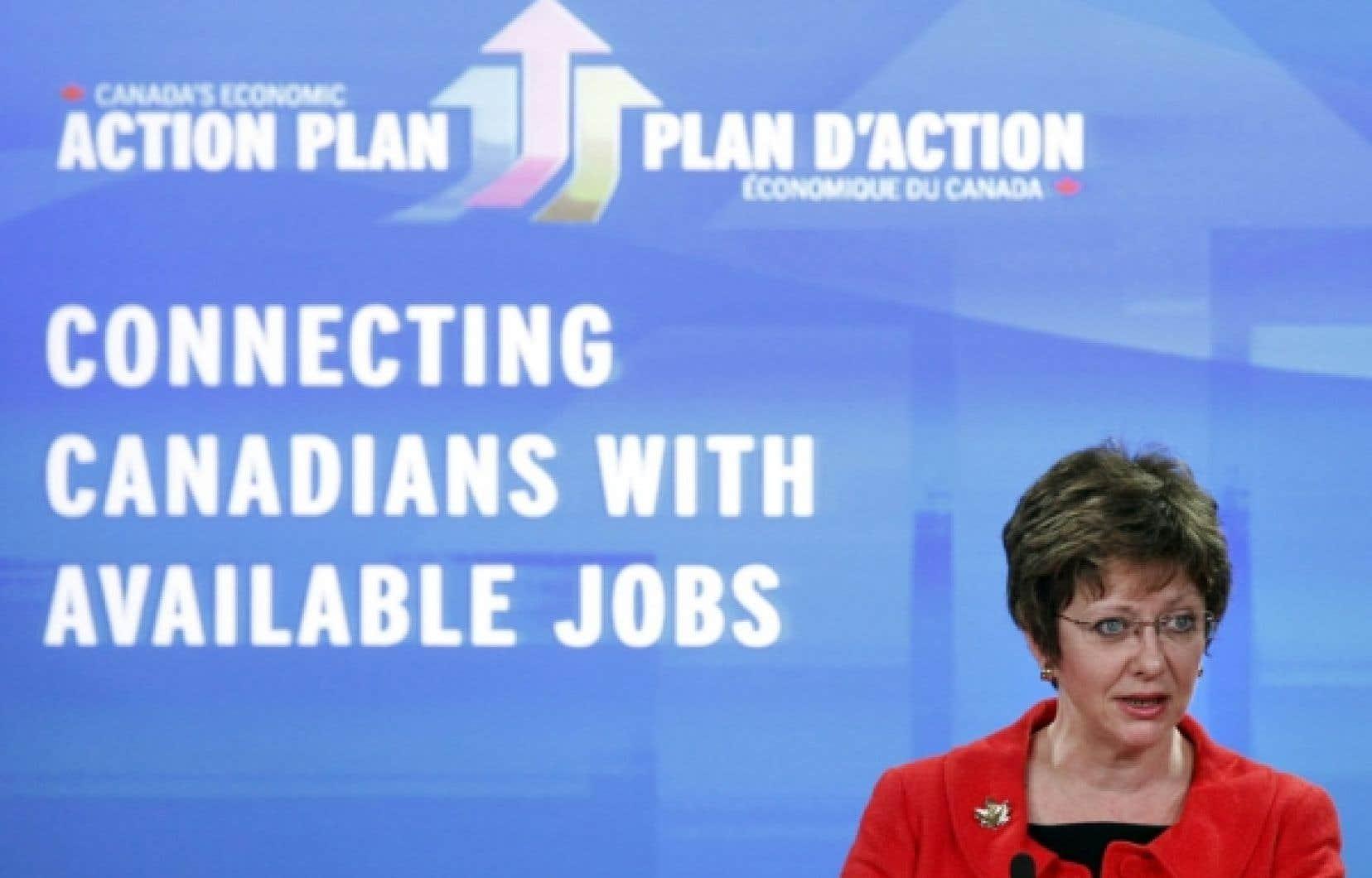 La ministre des Ressources humaines Diane Finley a annoncé jeudi des mesures qui inquiètent les provinces canadiennes.