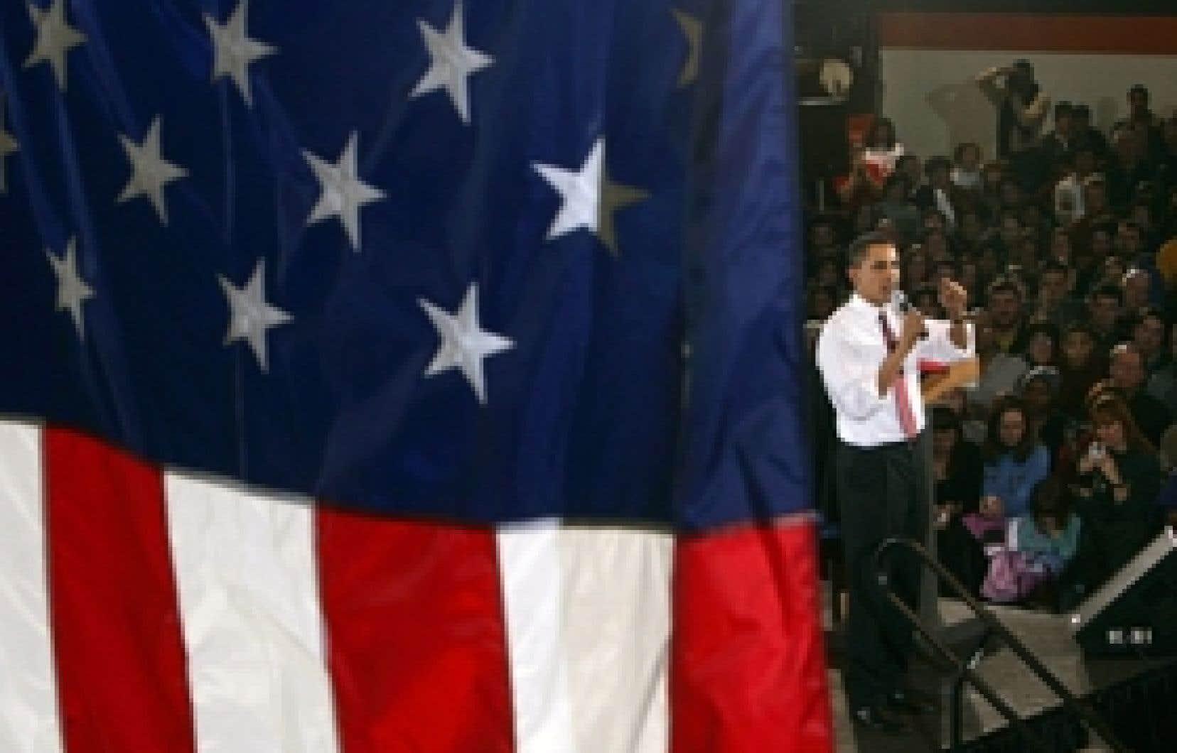 Barack Obama en campagne. Du premier caucus en Iowa jeudi à l'élection du 44e président américain en novembre, 2008 sera traversé de part en part par le marathon électoral aux États-Unis.