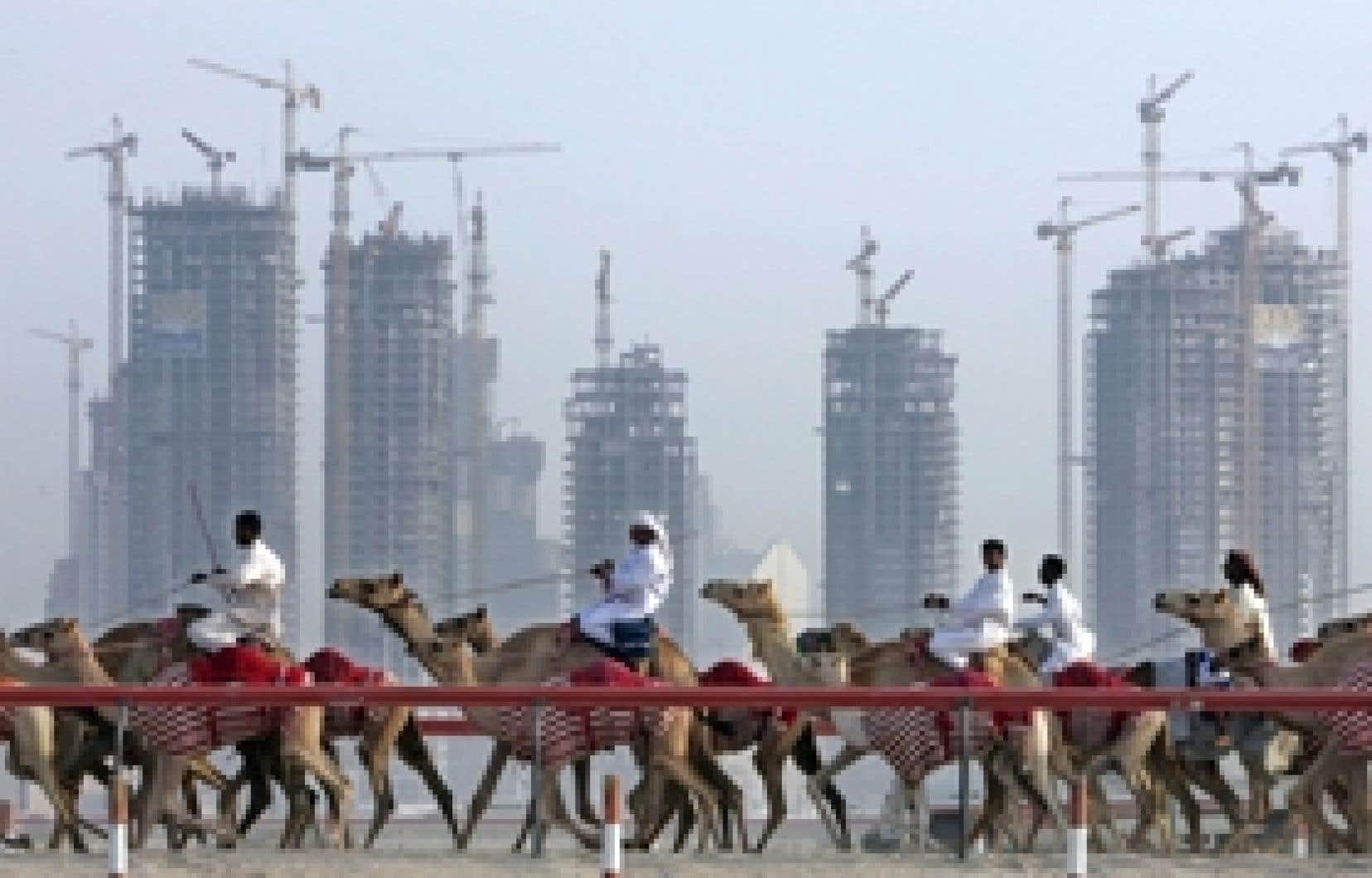 Entraînement de dromadaires de course à Dubaï. Le prix du baril de brut a rempli les coffres des six membres du Conseil de coopération du Golfe (Bahreïn, Koweït, Oman, Qatar, Arabie saoudite, Émirats arabes unis), qui fournissent le quart de la de