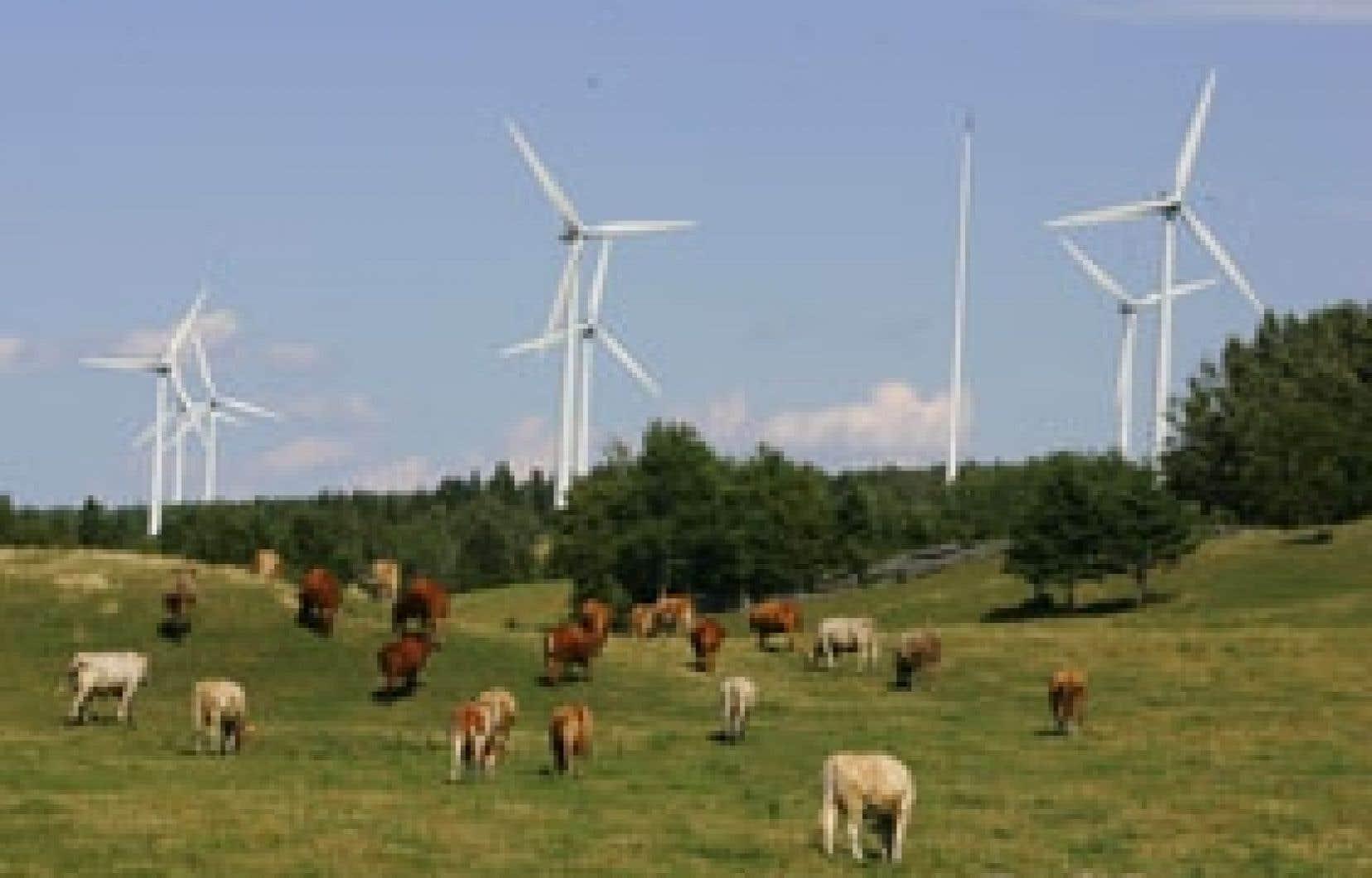 La construction de parcs d'éoliennes, un autre développement récent qui risque de modifier le paysage québécois.