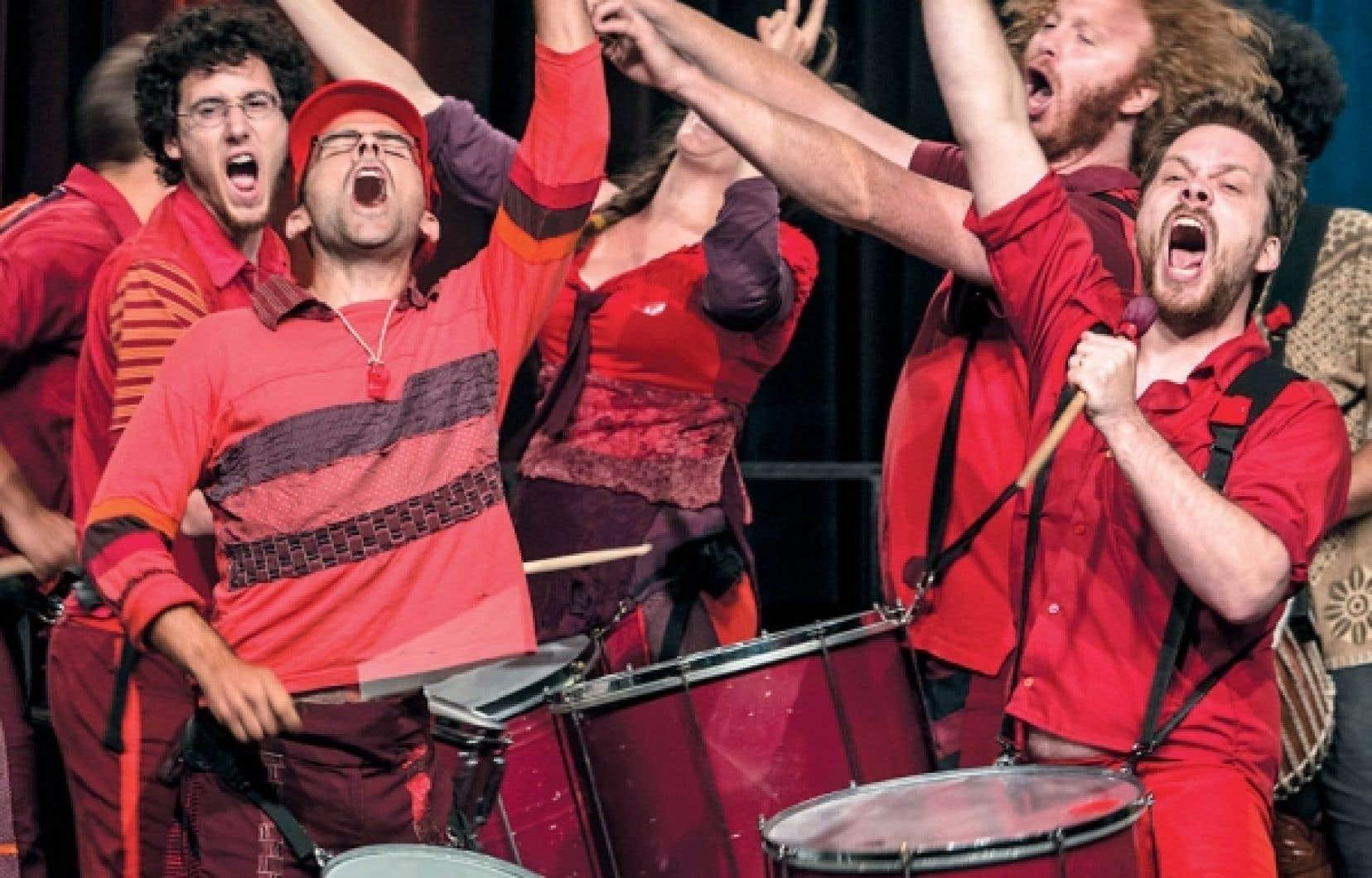 Les musiciens du groupe québécois Kumpa'nia, qui portaient tous le carré rouge, ont pris part à la cérémonie d'ouverture du premier Forum mondial de la langue française, hier à Québec. La rencontre internationale réunira toute la semaine plus de 1200 participants.