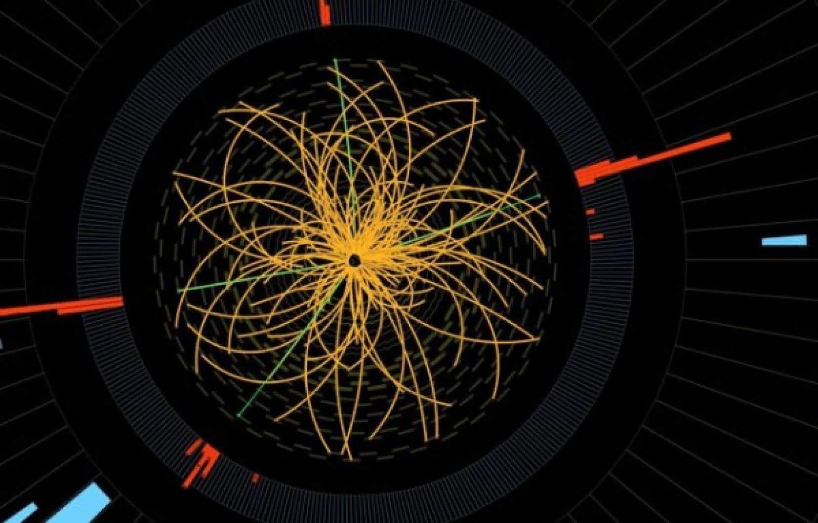 Cette image fournie par le CERN en 2011 montre une collision particules provoquée dans le Large Hadron Collider de l'Organisation européenne pour la recherche nucléaire (CERN).