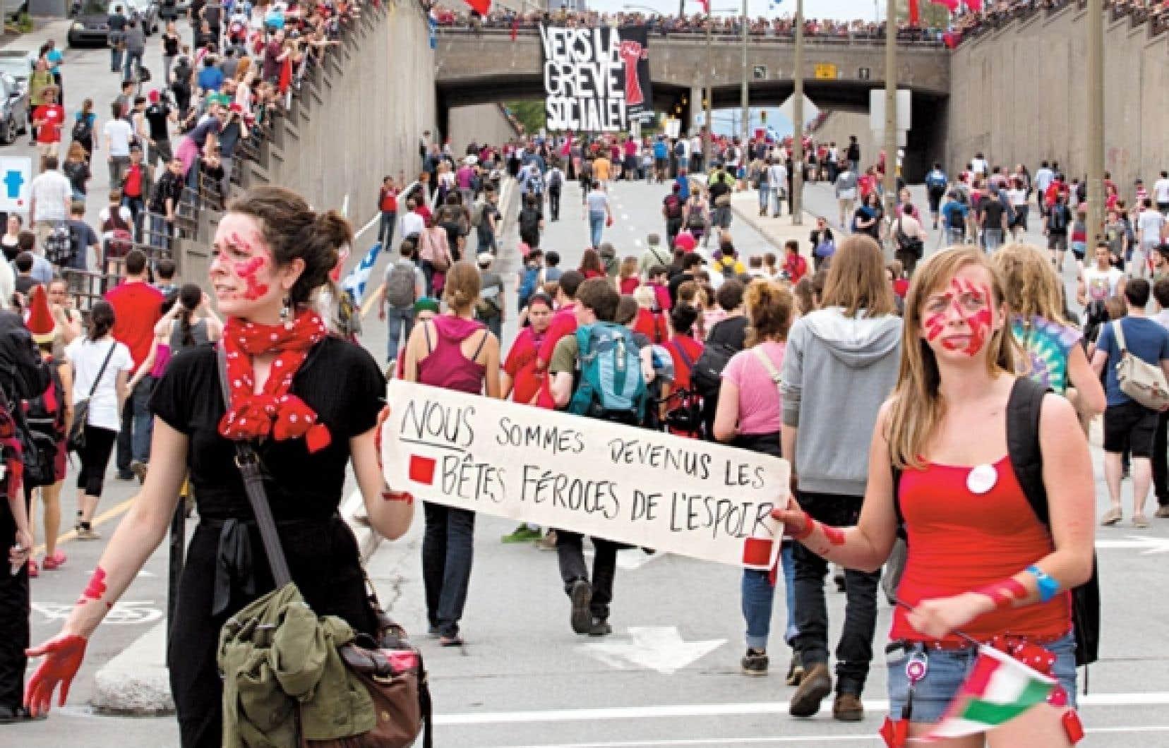 Manifestation du 22 mai, à Montréal. Une force d'abord souterraine, auparavant engourdie par un consensus froid, a surgi ce printemps.