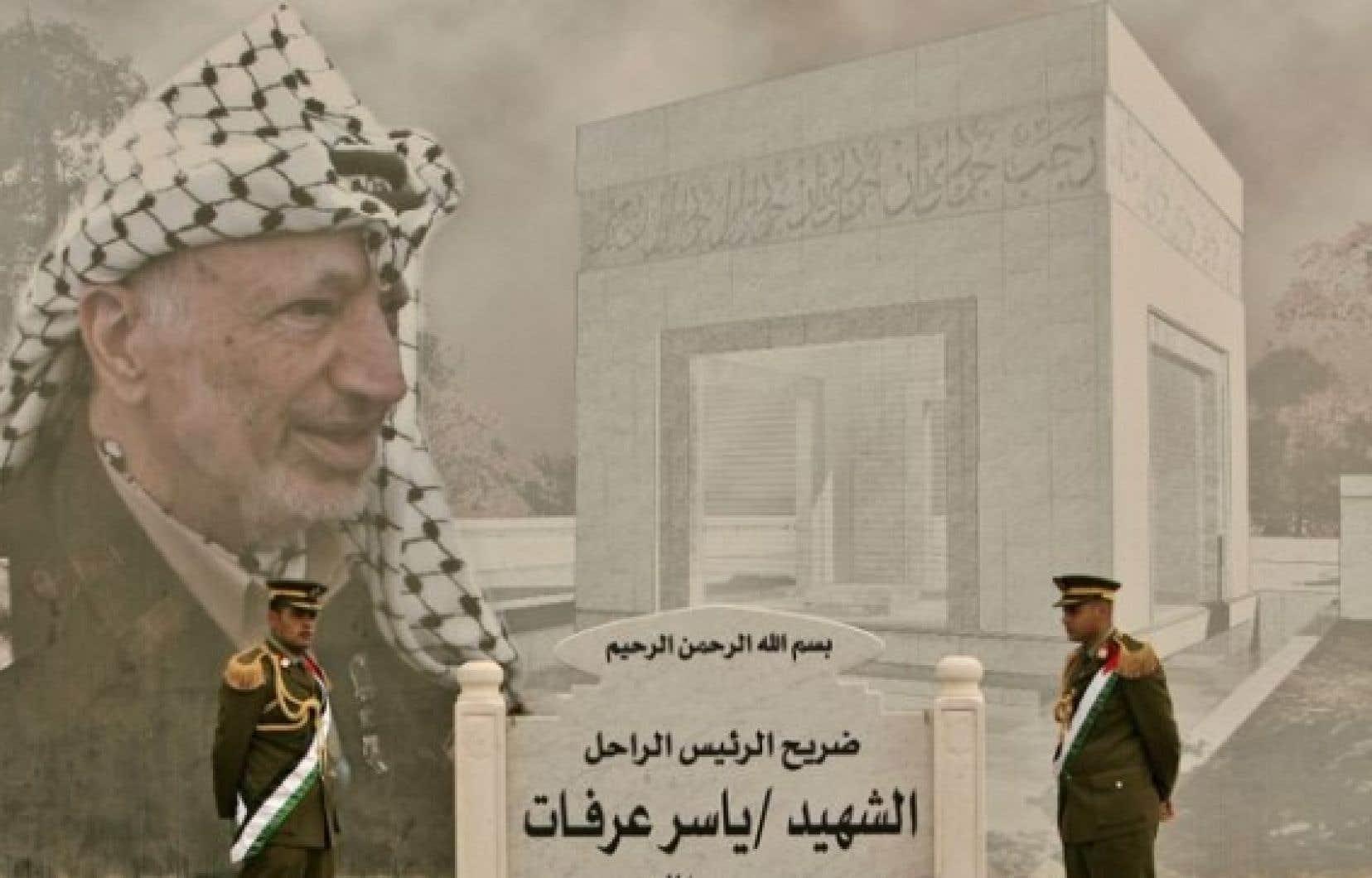 Gardes près du mausolée de Yasser Arafat, à Ramallah.