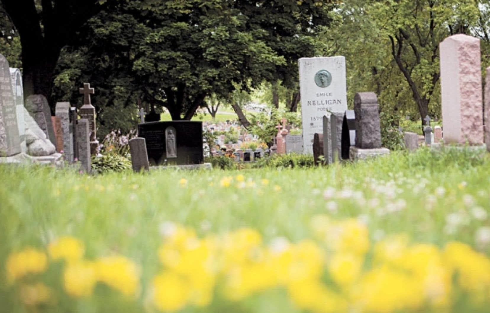 Parmi les pierres tombales du cimetière Notre-Dame-des-Neiges, de Montréal, le visiteur peut apercevoir celle du poète Émile Nelligan. Ce cimetière constitue le plus grand lieu de sépulture au Canada.