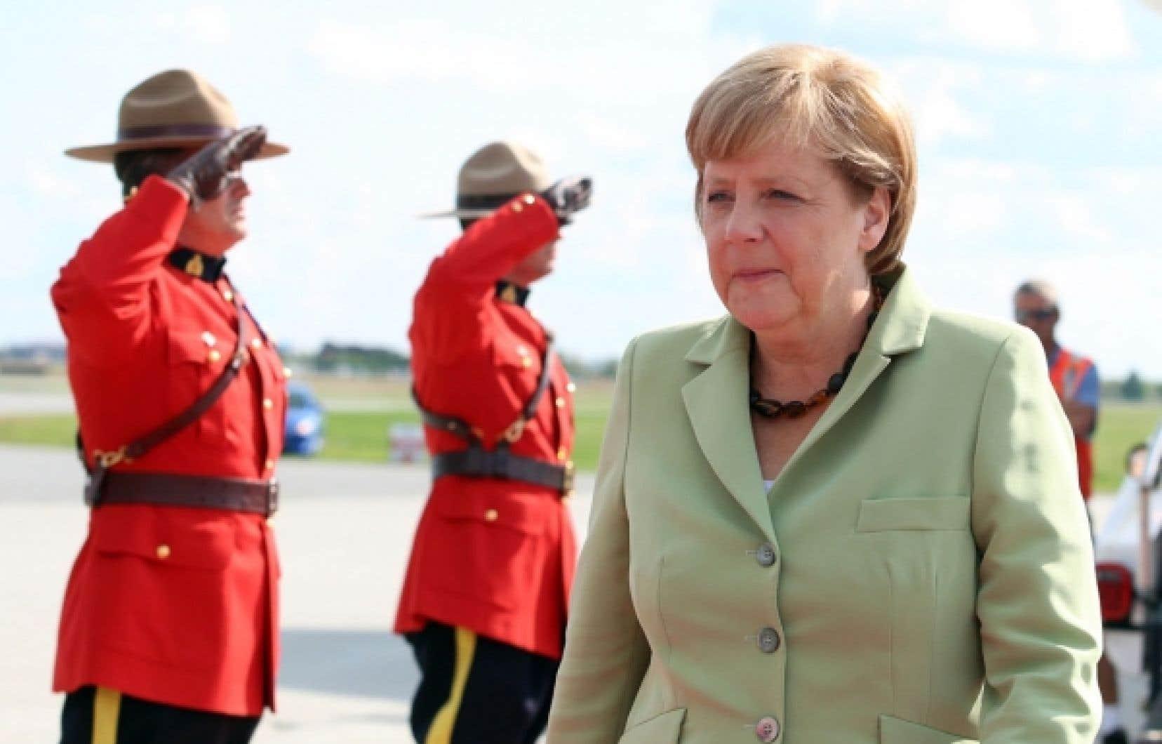 <div> Angela Merkel lors de son arrivée à Ottawa mercredi</div>