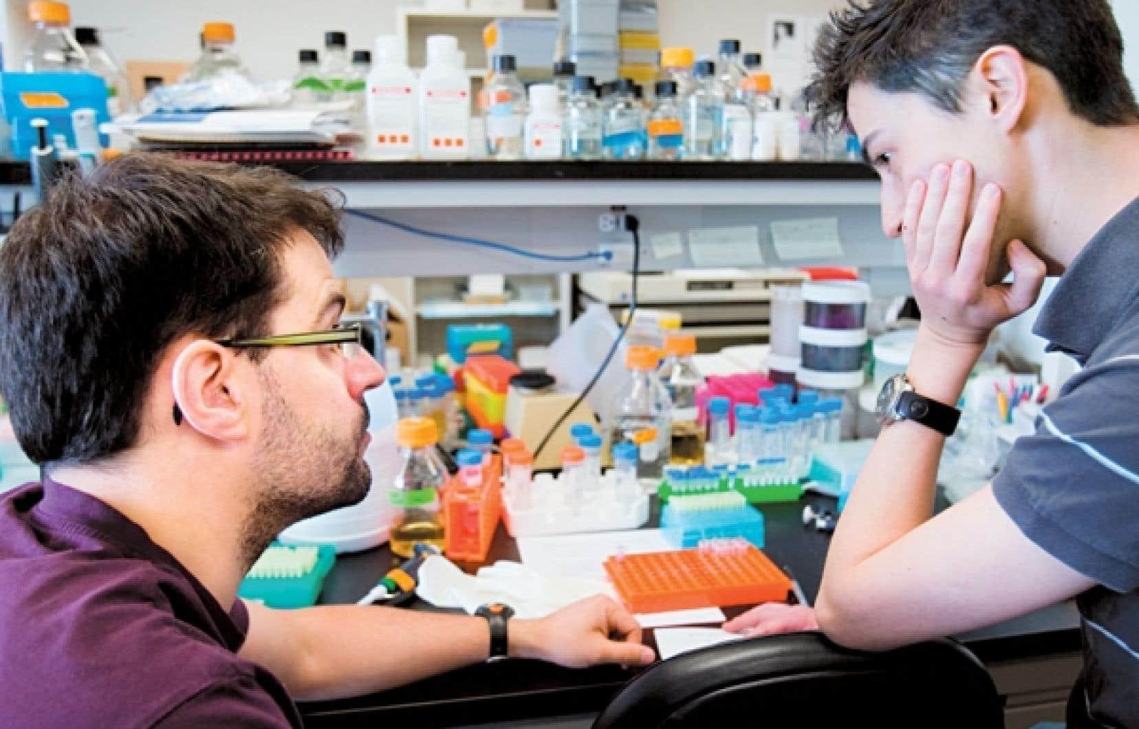 Deux jeunes chercheurs dans un laboratoire de Montréal.