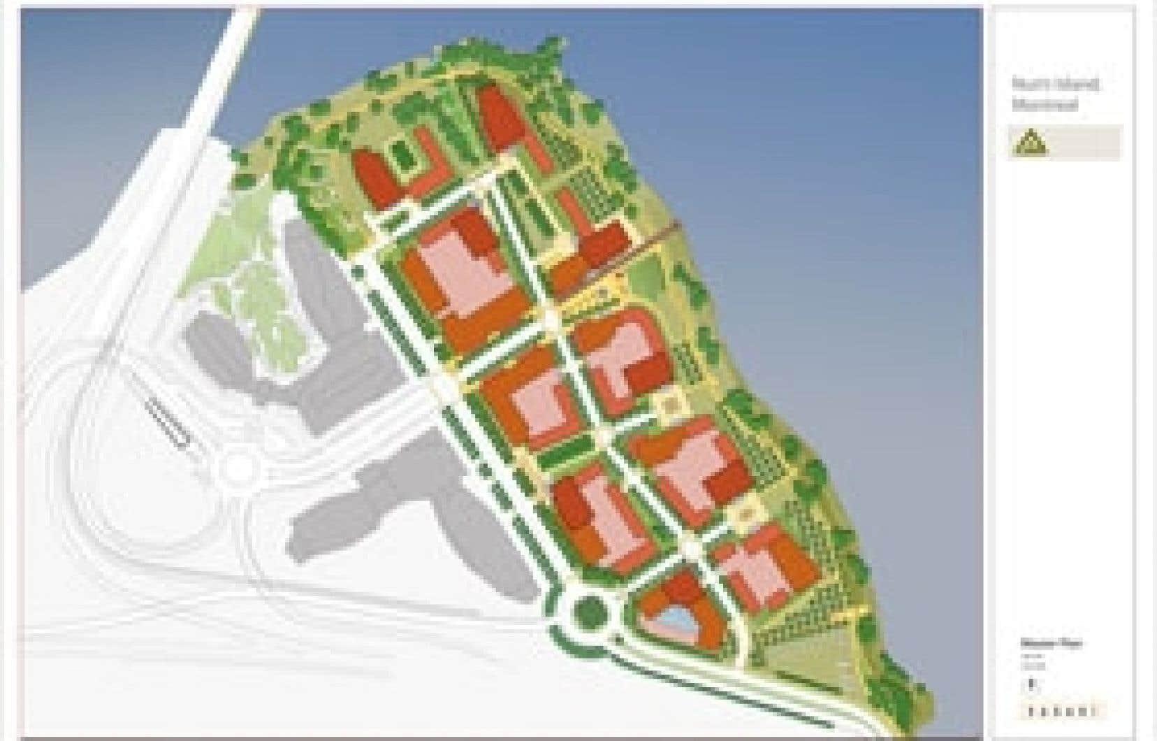 Le projet du Quartier sur le fleuve, sur la pointe nord de l'Île-des-Soeurs. Source:Corporation Proment