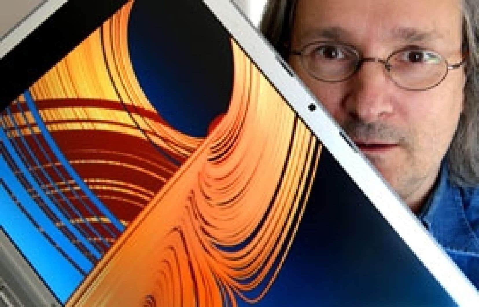 Le mathématicien Étienne Ghys photographié derrière une représentation de l'effet papillon de Lorenz.