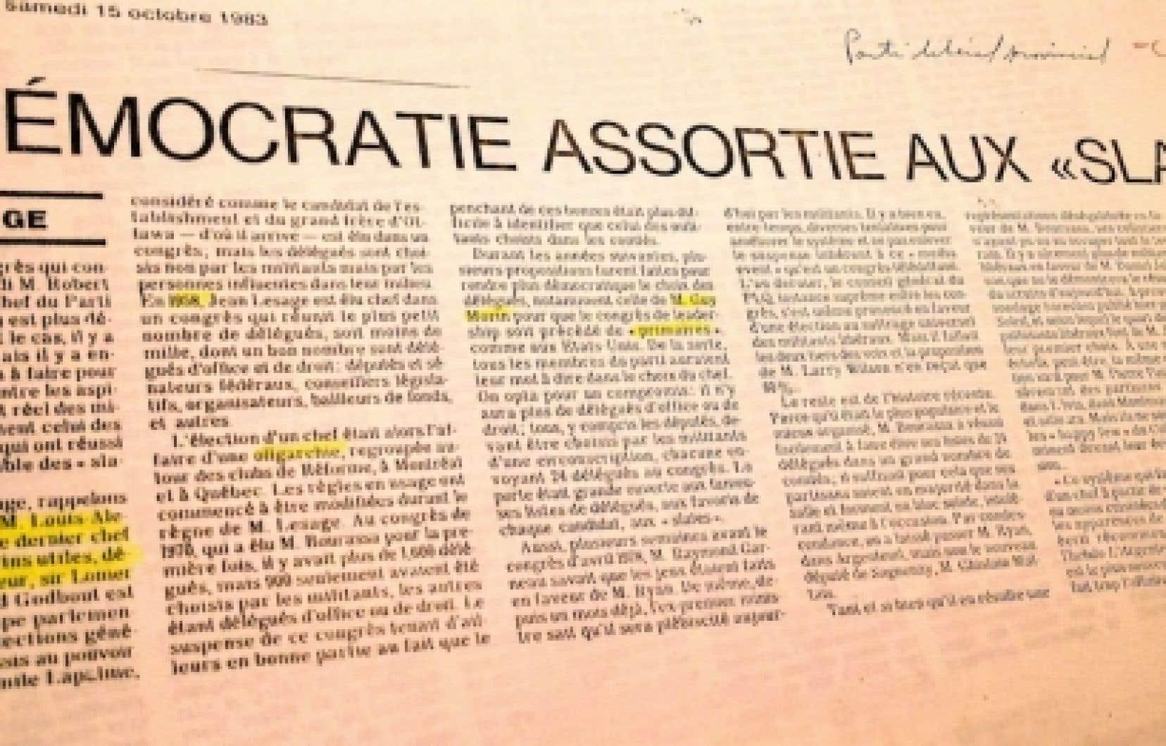 Un texte de Gilles Lesage, dans Le Devoir du 15 octobre 1983.