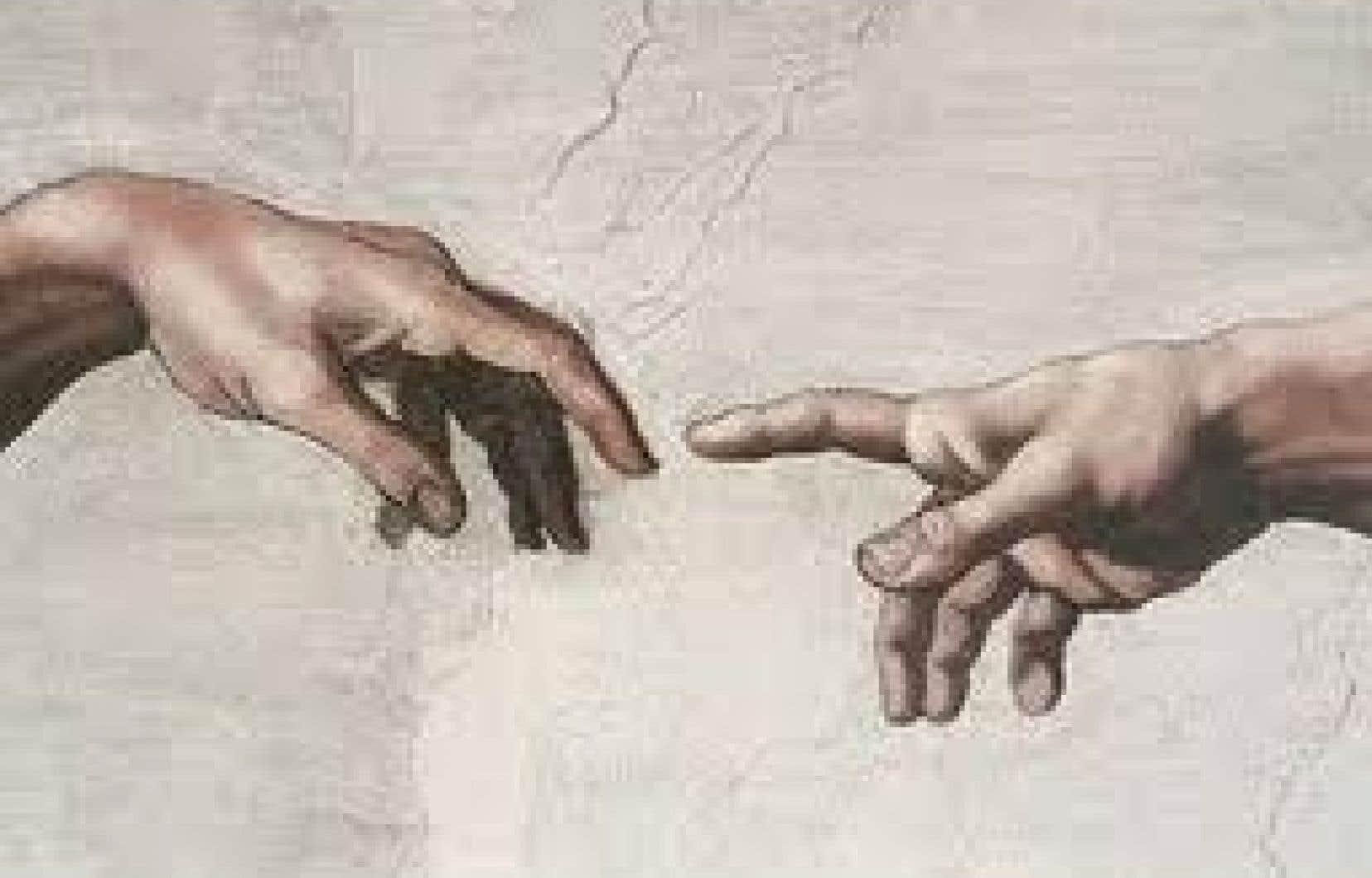 Fragment de La création d'Adam, de Michel Ange<br />