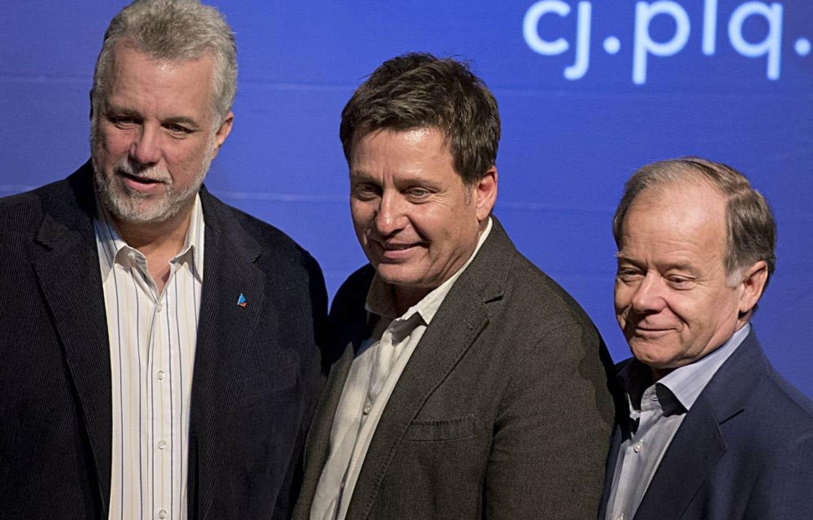 Philippe Couillard, Pierre Moreau et Raymond Bachand (photo d'archives).<br />