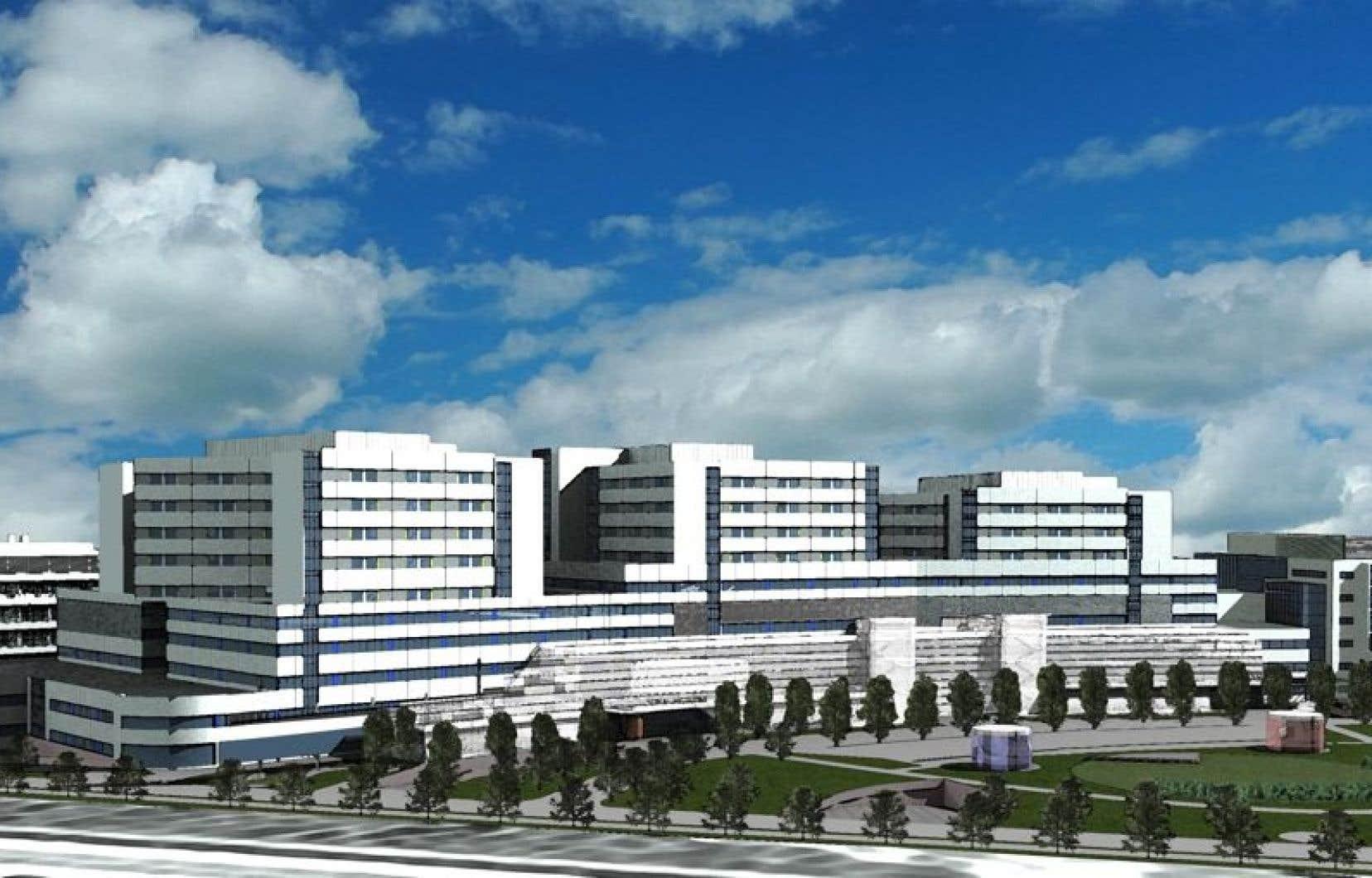 Maquette du super-hôpital en construction.
