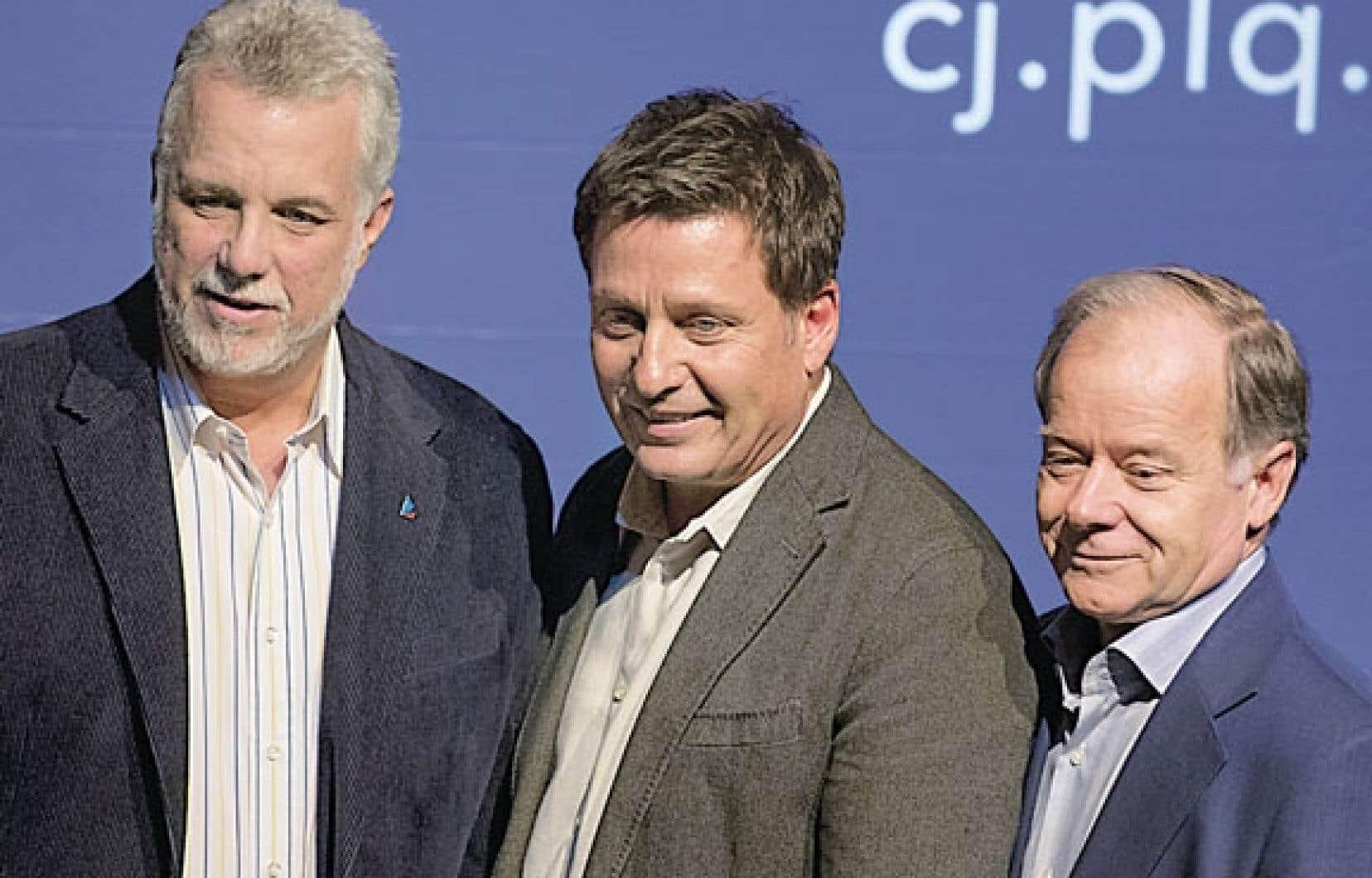 Les trois candidats à la chefferie du Parti libéral du Québec : Philippe Couillard, Pierre Moreau et Raymond Bachand.