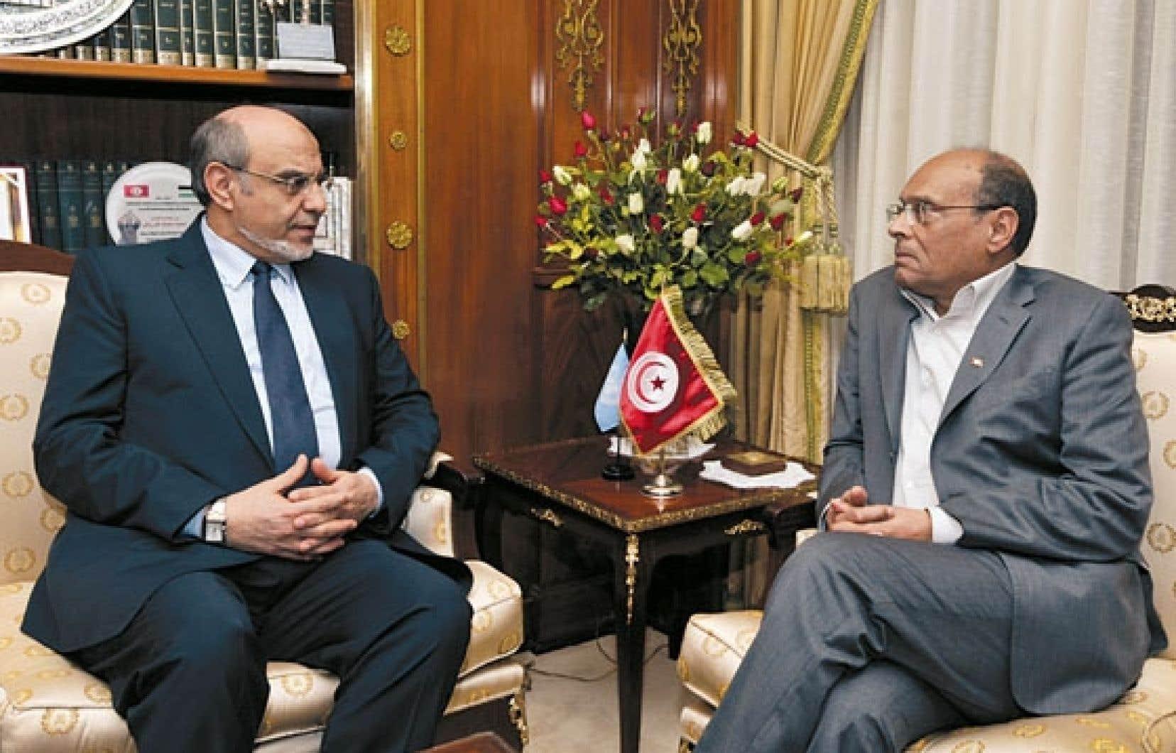 Hamadi Jebali (à gauche) a rencontré mardi le président Moncef Marzouki.