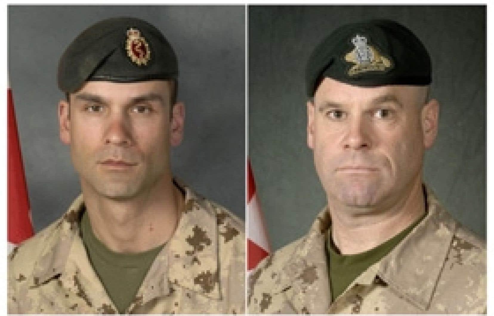 Le caporal-chef Christian Duchesne, 34 ans, et l'adjudant-maître Mario Mercier, 43 ans, sont décédés en Afghanistan mercredi.