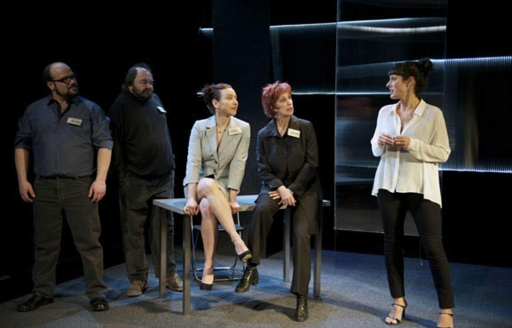 Dans la pièce Amour/Argent, les comédiens Mathieu Gosselin, Benoît Dagenais, Isabelle Roy, Danielle Proulx et Marie-Hélène Thibault interprètent les membres d'une même famille et d'une même entreprise, victimes de la fluctuation de l'argent.