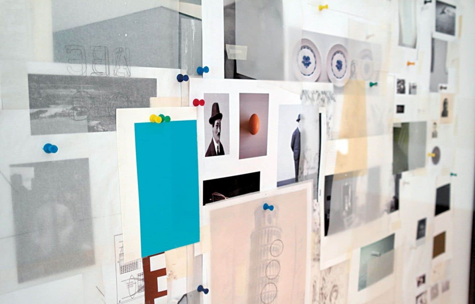 Raymond Lavoie, DATA - 1 [détail], 2012, Matériaux divers sur toile, verre, bois.