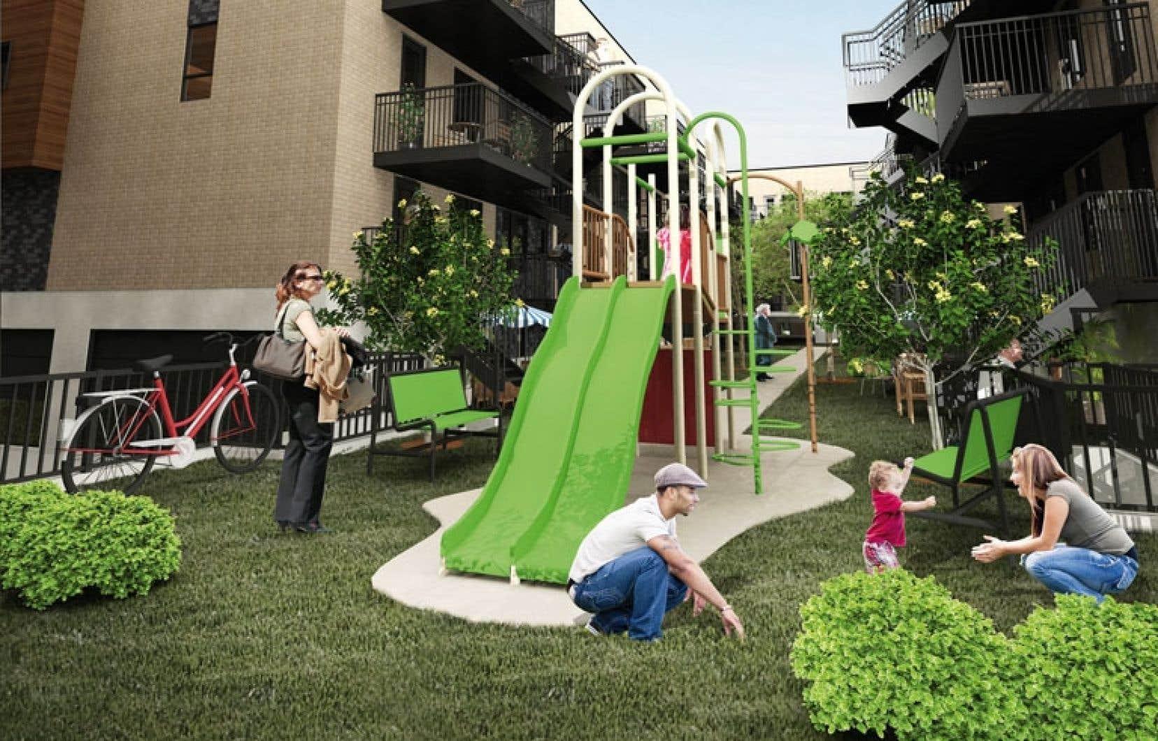 Les habitants des condos Mont-Joli pourront bénéficier de deux parcs privés munis de modules de jeux.